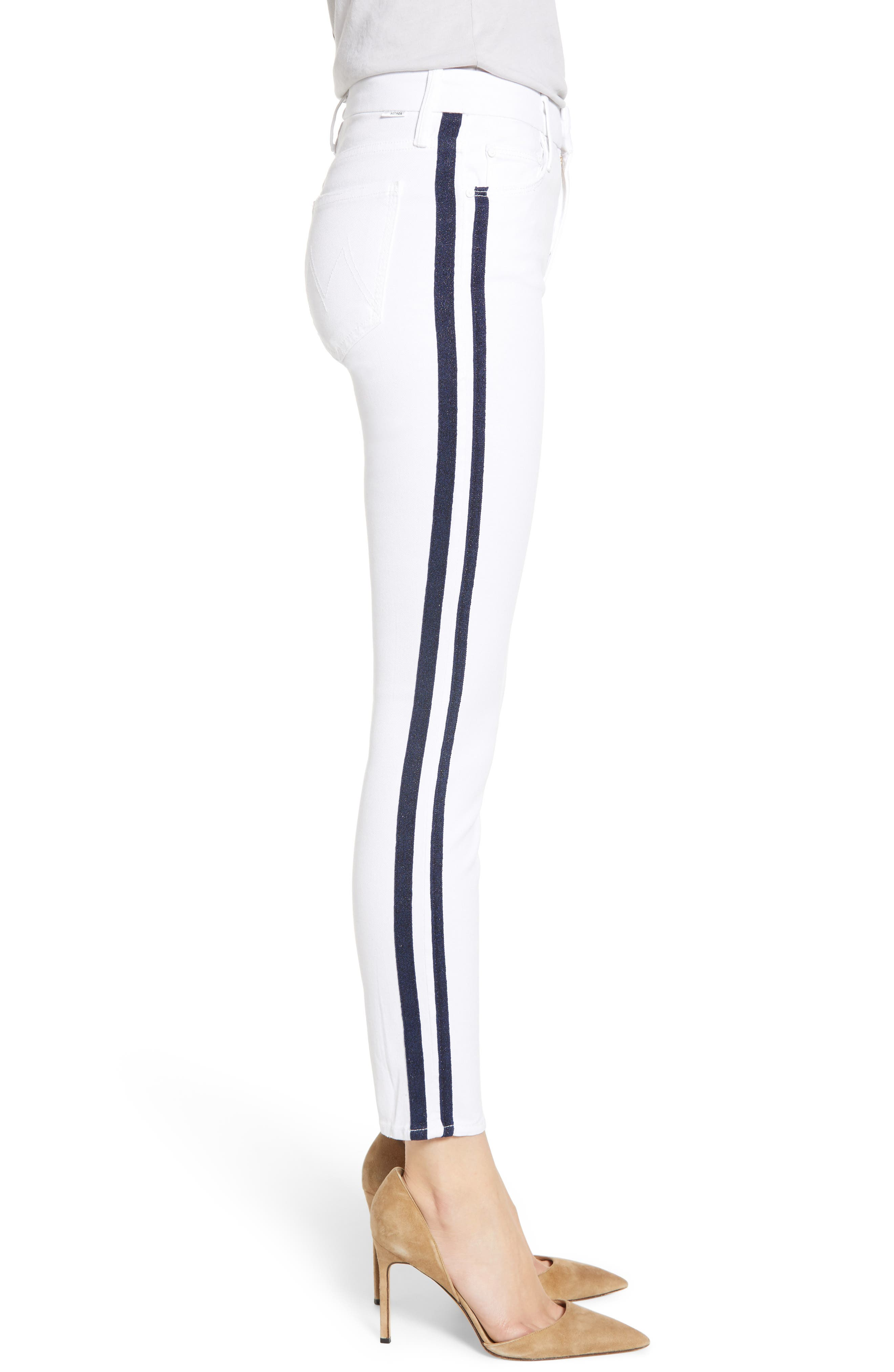 MOTHER, The Looker Stripe Ankle Skinny Jeans, Alternate thumbnail 4, color, 100