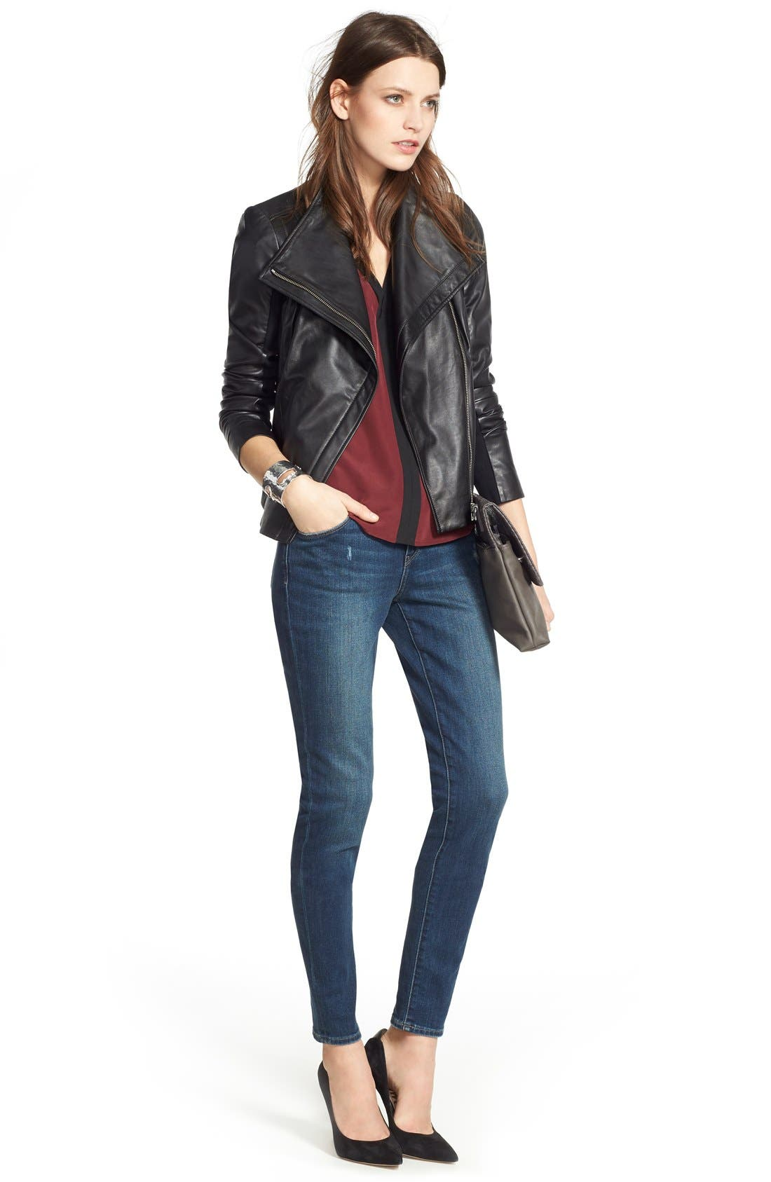 CHELSEA28, Leather Moto Jacket, Alternate thumbnail 9, color, BLACK