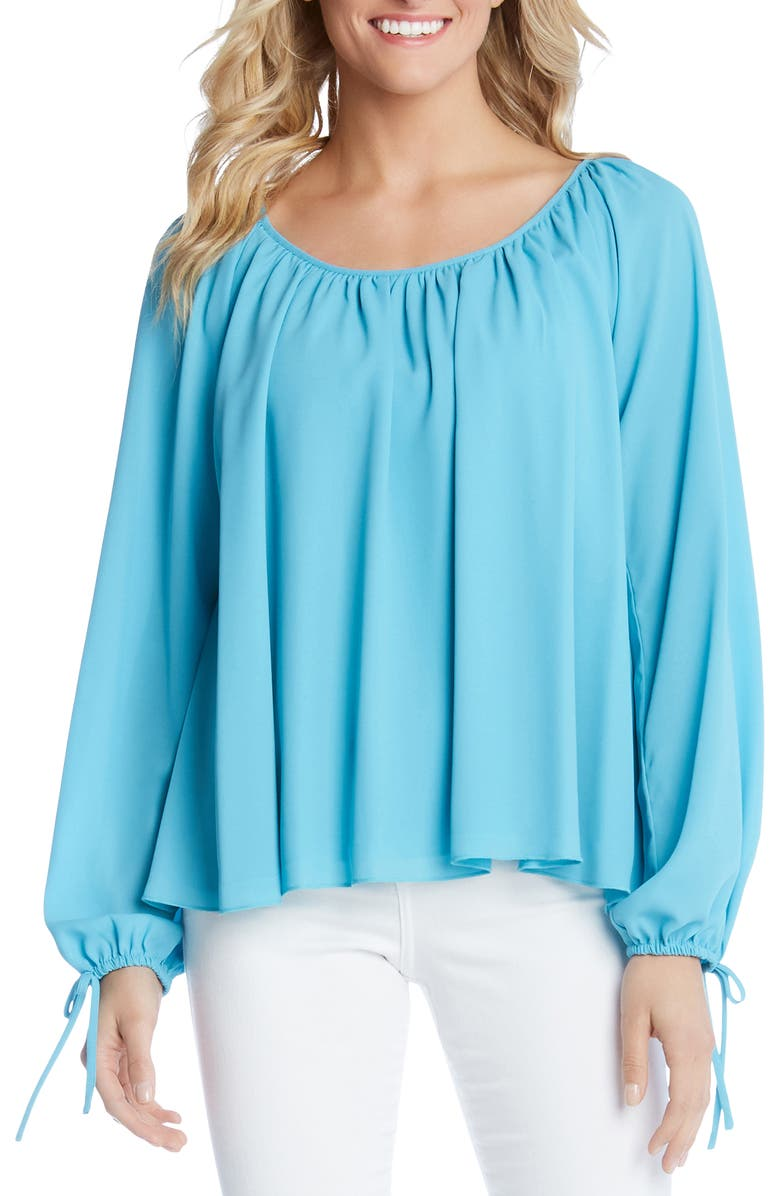 Karen Kane Tops TIE SLEEVE PEASANT TOP