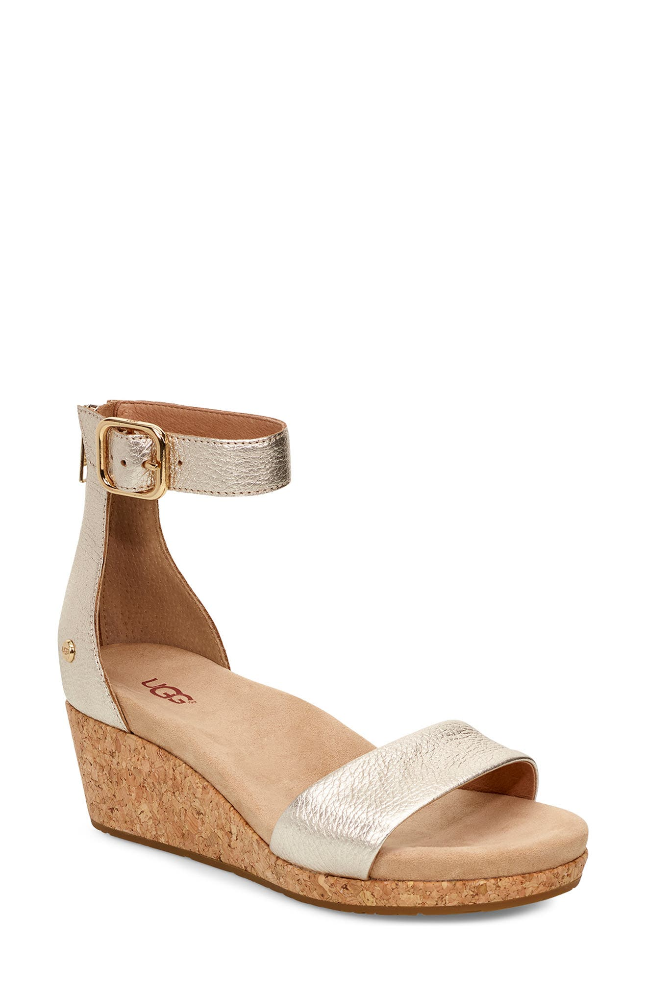 UGG<SUP>®</SUP> Zoe II Metallic Wedge Sandal, Main, color, GOLD LEATHER