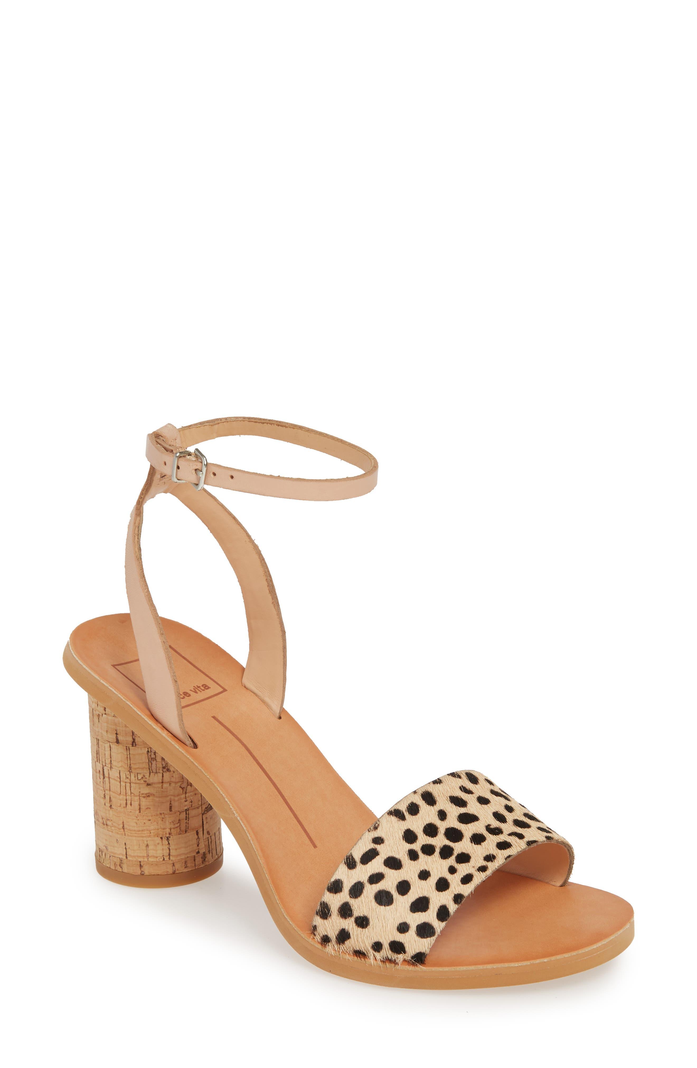 DOLCE VITA Jali Column Heel Sandal, Main, color, LEOPARD PRINT