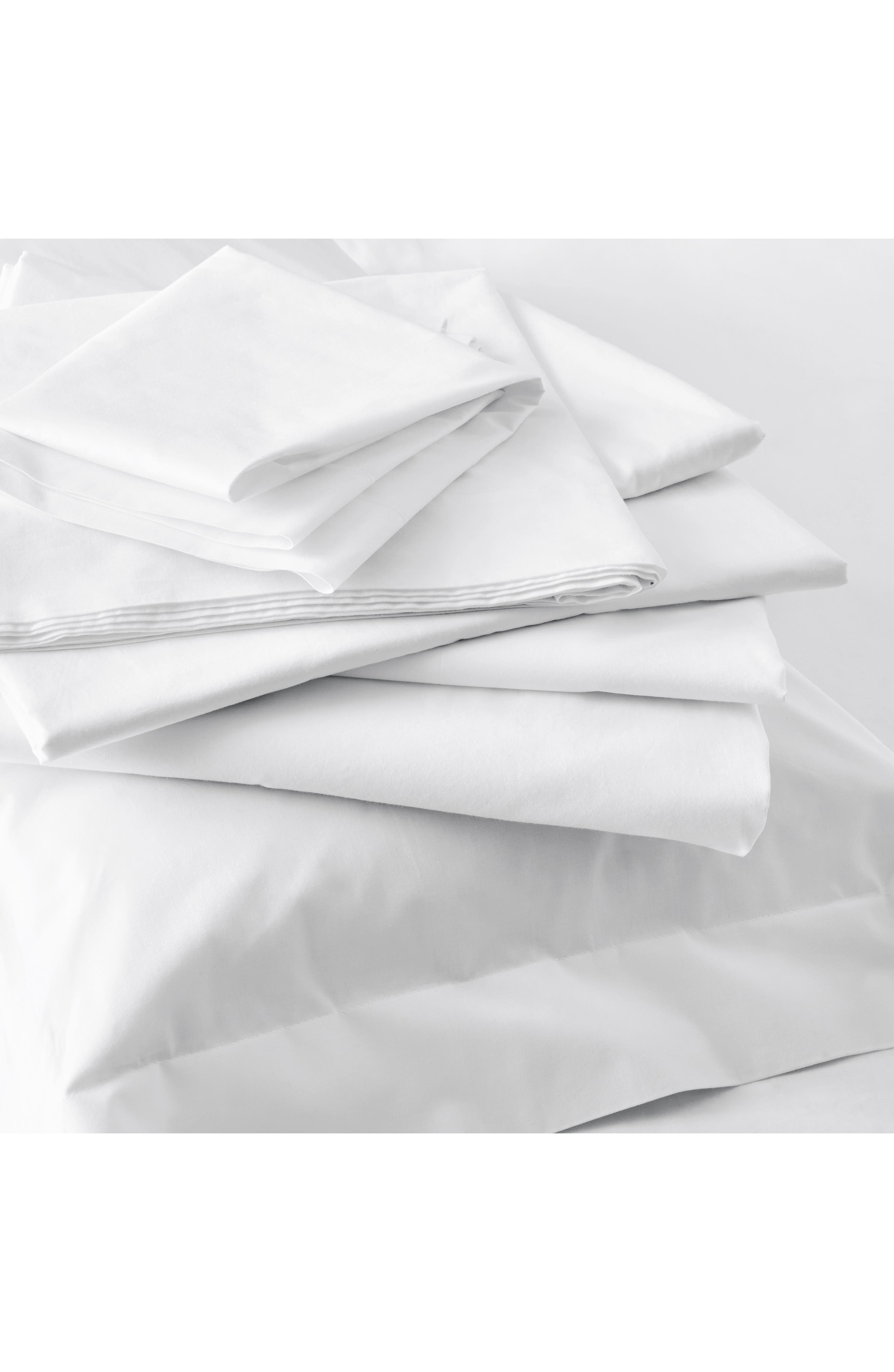 THE WHITE COMPANY, 200 Thread Count Egyptian Cotton Flat Sheet, Alternate thumbnail 3, color, WHITE