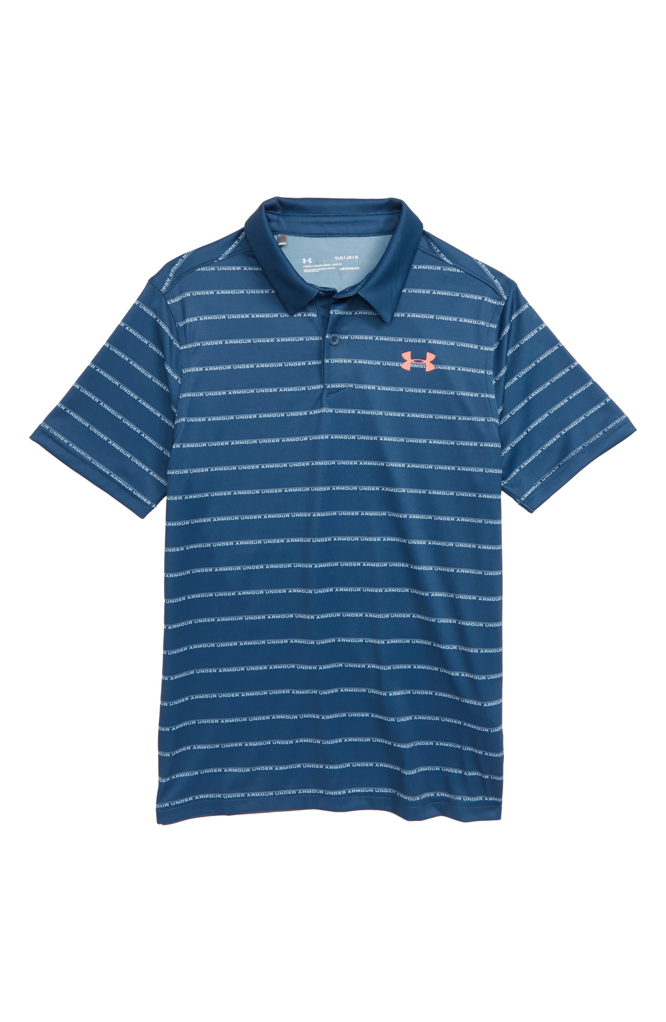 UNDER ARMOUR, Tour Tips Stripe HeatGear<sup>®</sup> Polo, Main thumbnail 1, color, 437