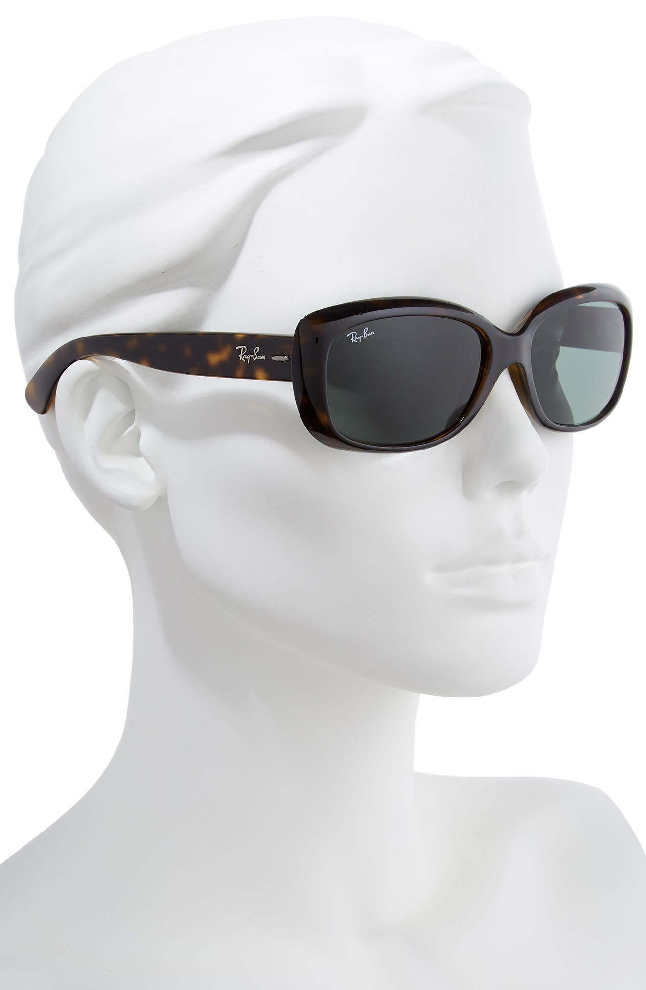RAY-BAN, Jackie Ohh 58mm Cat Eye Sunglasses, Alternate thumbnail 2, color, LITE HAVANA/ GREEN SOLID
