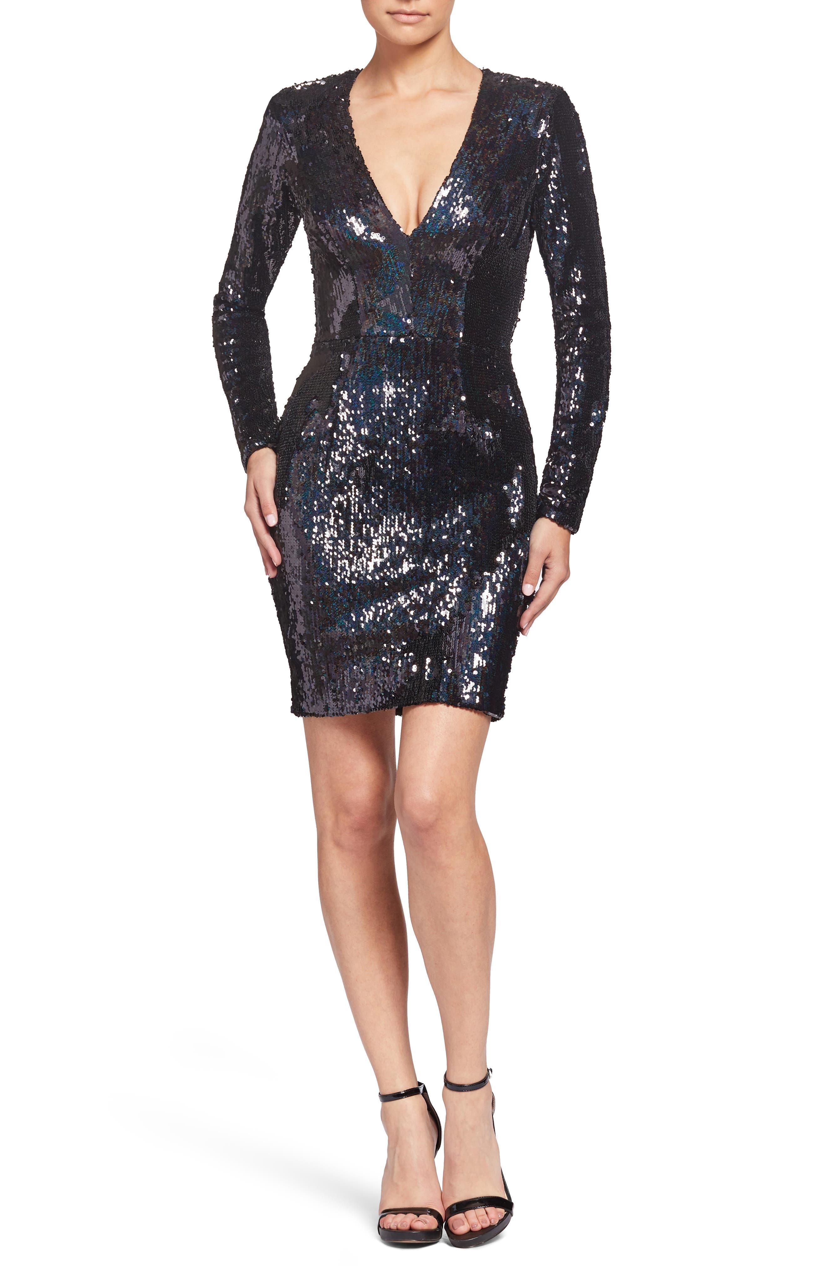 Dress The Population Riley Plunge Neck Sequin Sheath Dress, Black