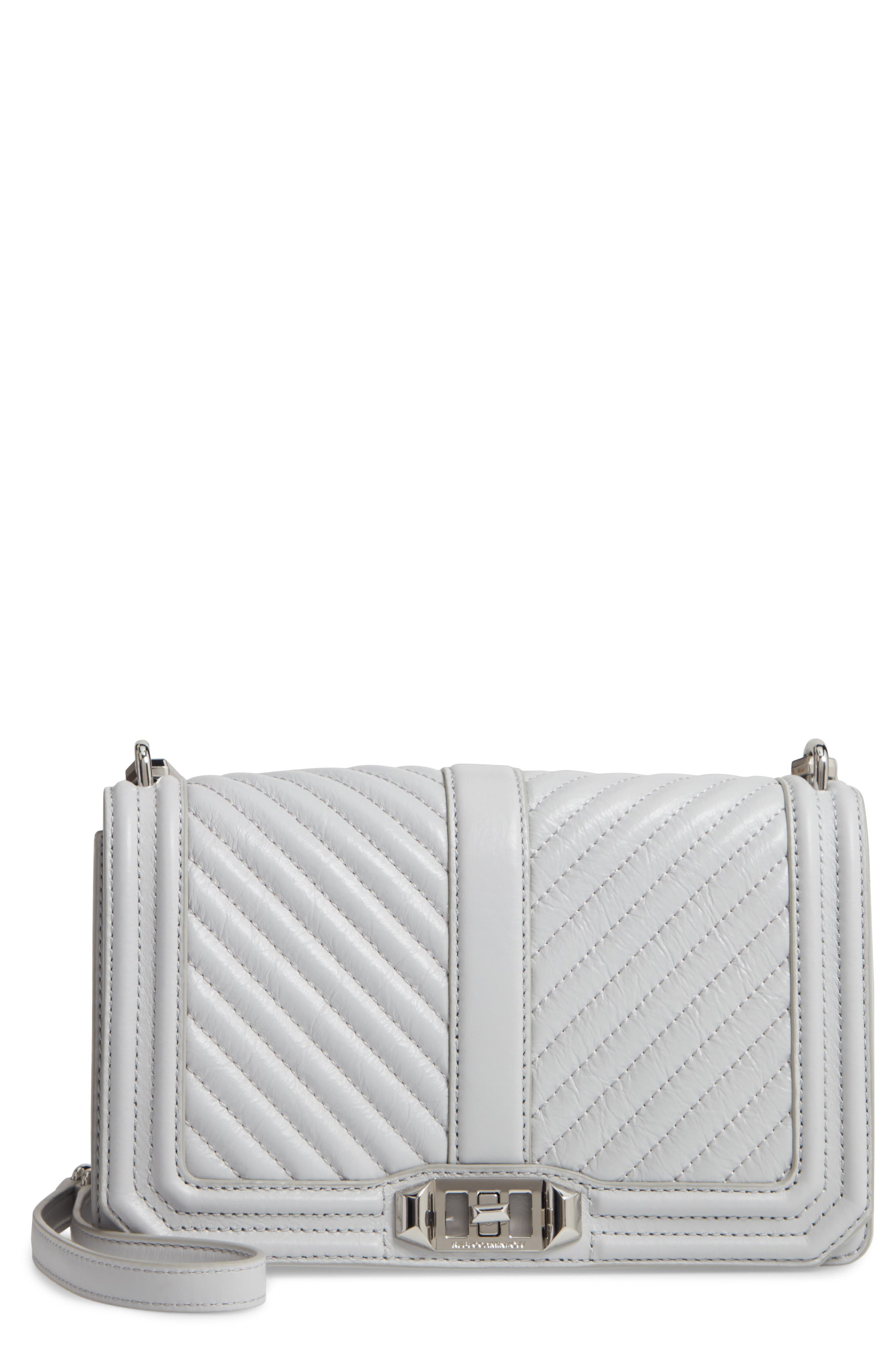 REBECCA MINKOFF, 'Chevron Quilted Love' Crossbody Bag, Main thumbnail 1, color, ICE GREY