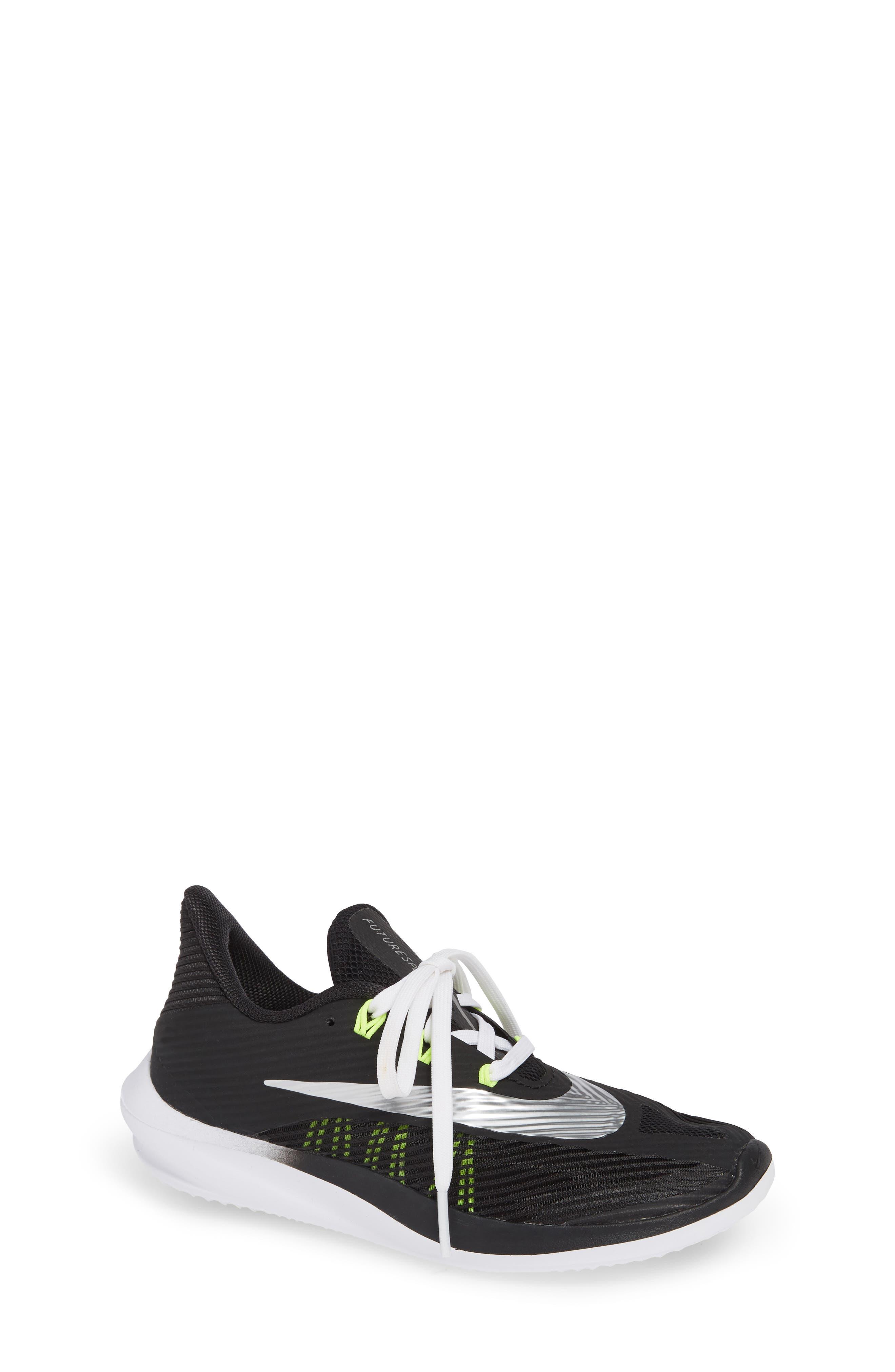 NIKE, Future Speed Running Shoe, Main thumbnail 1, color, BLACK/ CHROME-WHITE-VOLT
