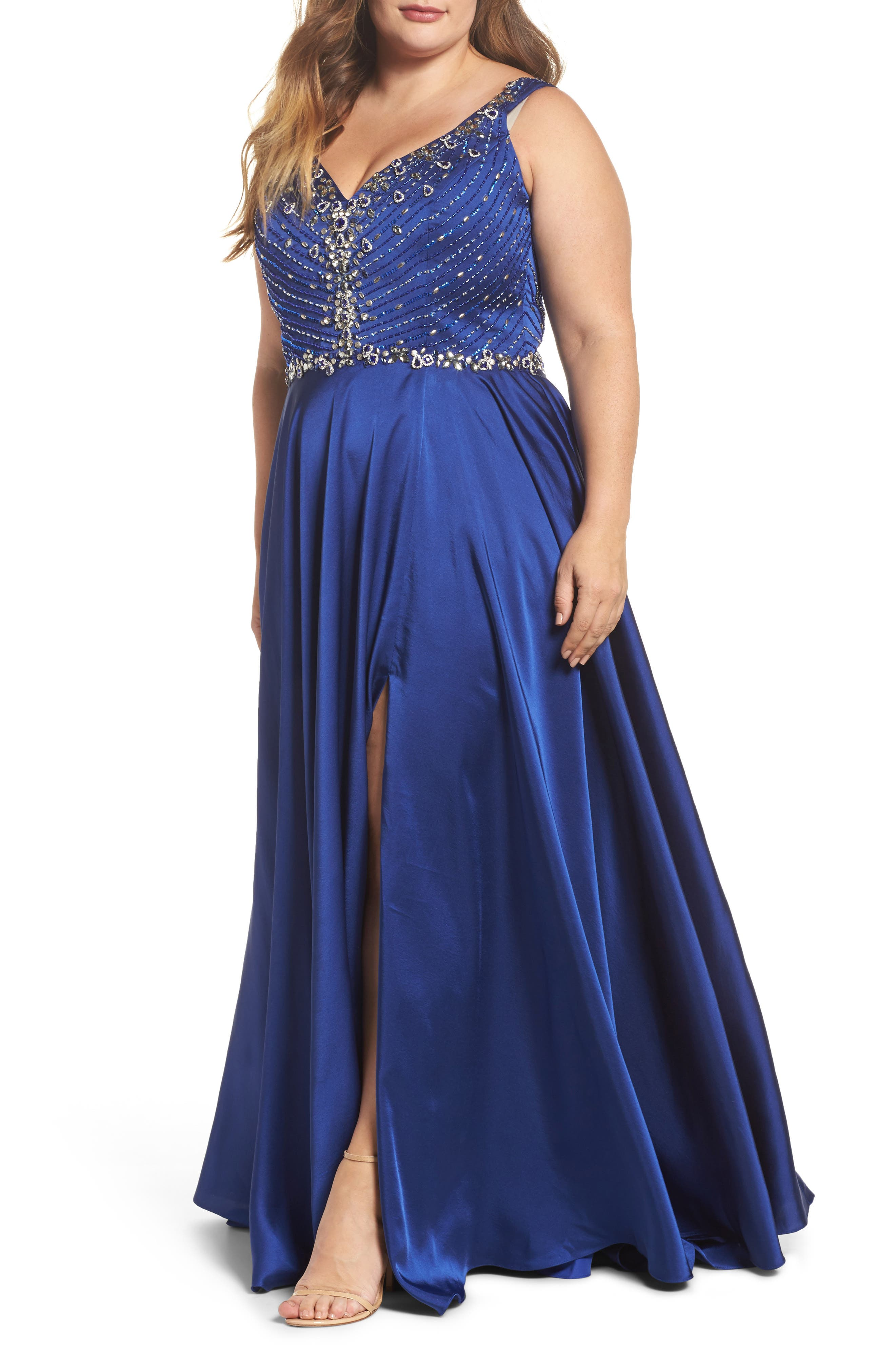 Plus Size MAC Duggal Beaded Bodice Gown, Blue