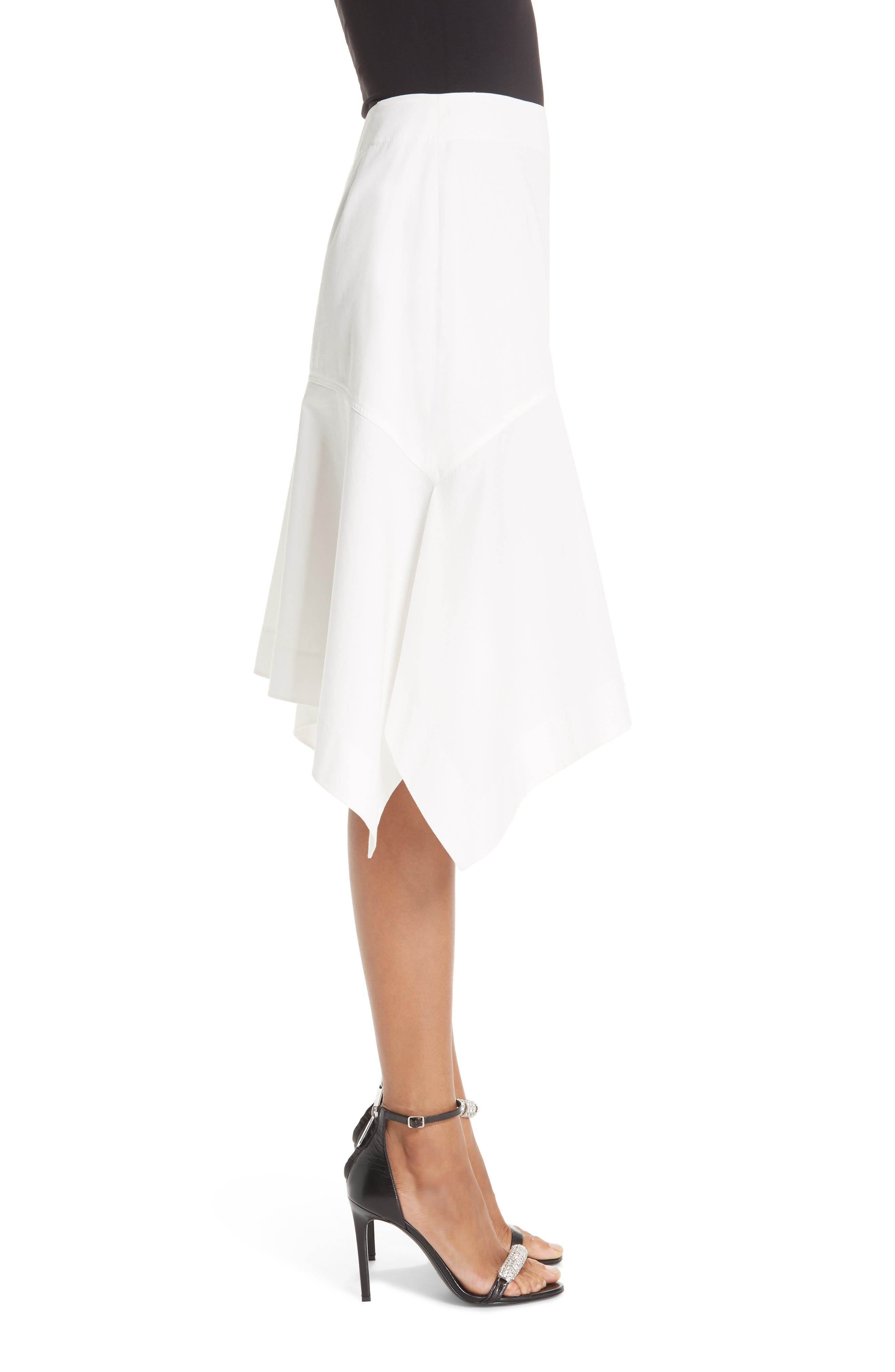 CALVIN KLEIN 205W39NYC, Sharkbite Hem Cotton Gabardine Skirt, Alternate thumbnail 3, color, WHITE