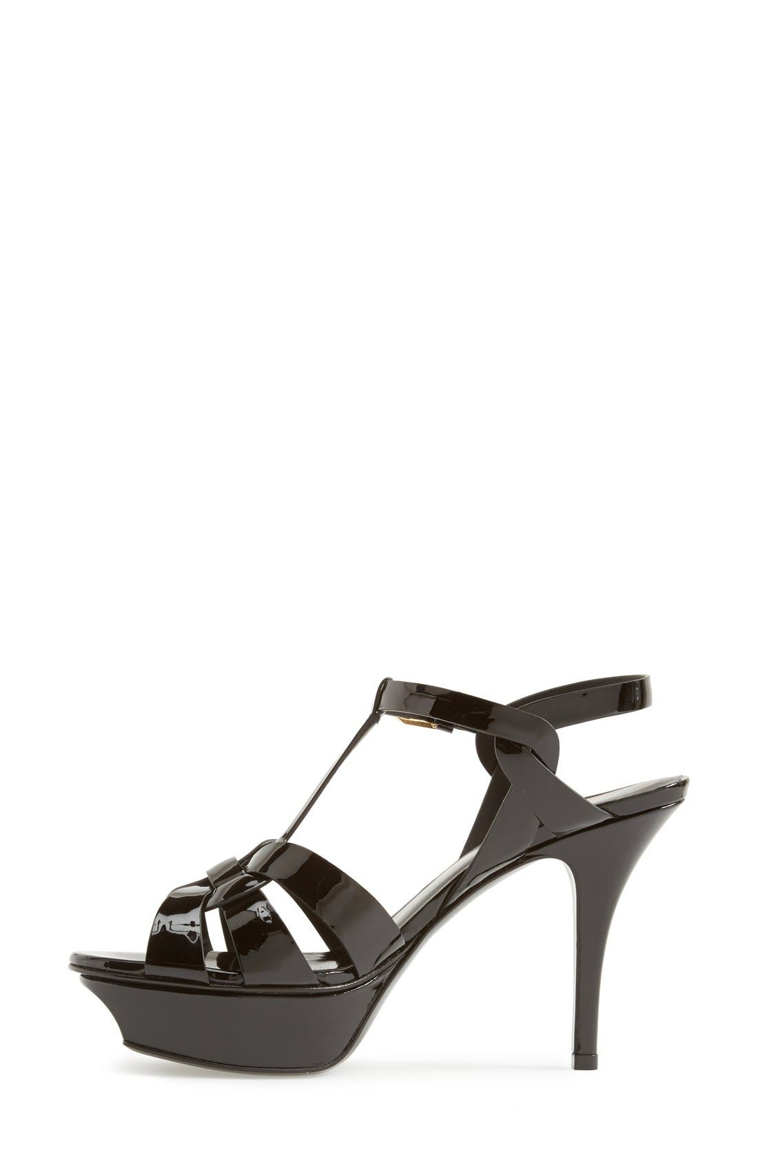 SAINT LAURENT, 'Tribute' T-Strap Sandal, Alternate thumbnail 5, color, BLACK