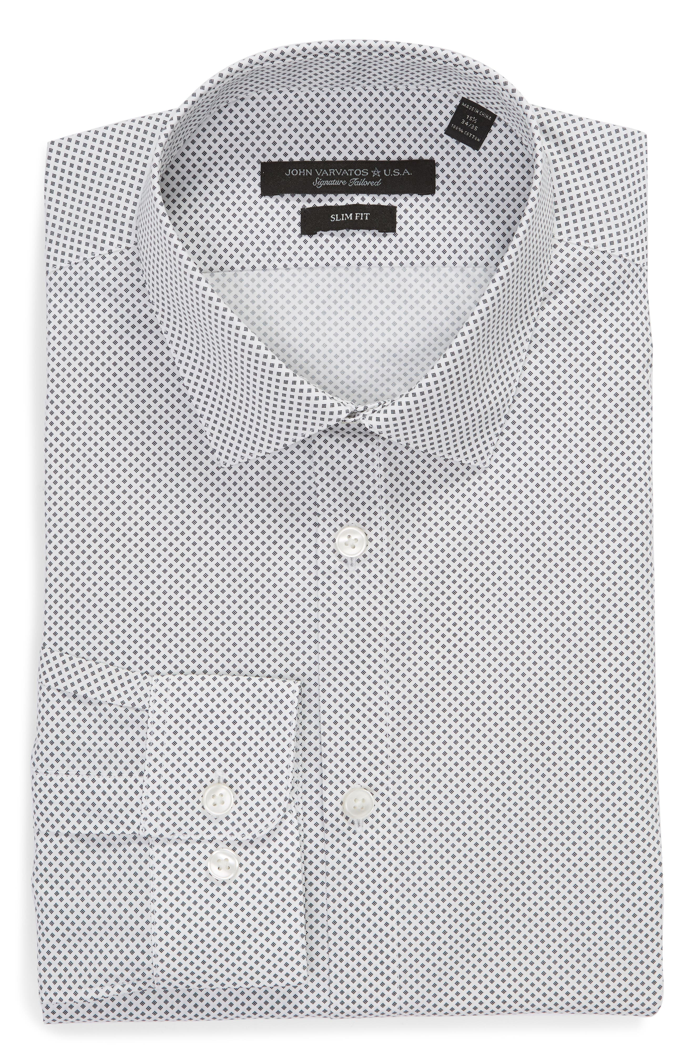 JOHN VARVATOS STAR USA, Slim Fit Print Dress Shirt, Alternate thumbnail 5, color, THUNDER GREY