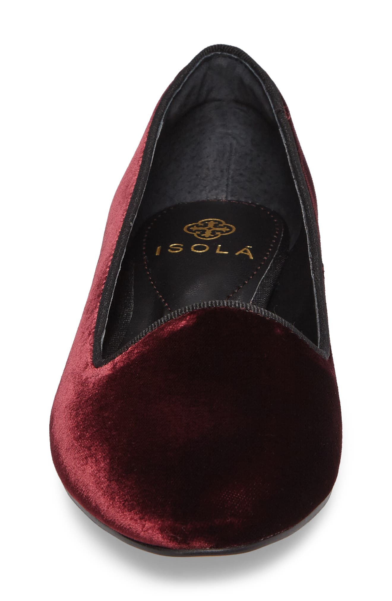ISOLÁ, Casoria Smoking Slipper, Alternate thumbnail 4, color, BORDEAUX VELVET