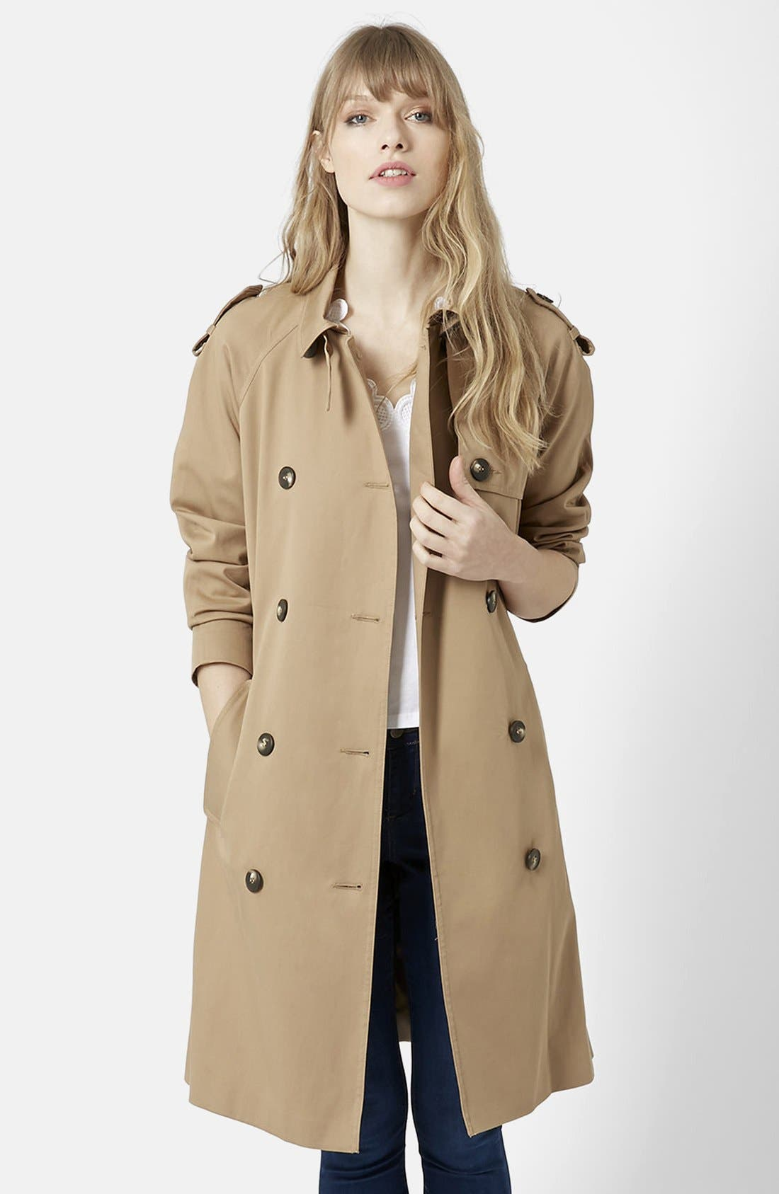 TOPSHOP, Double Breasted Cotton Trench, Main thumbnail 1, color, 252