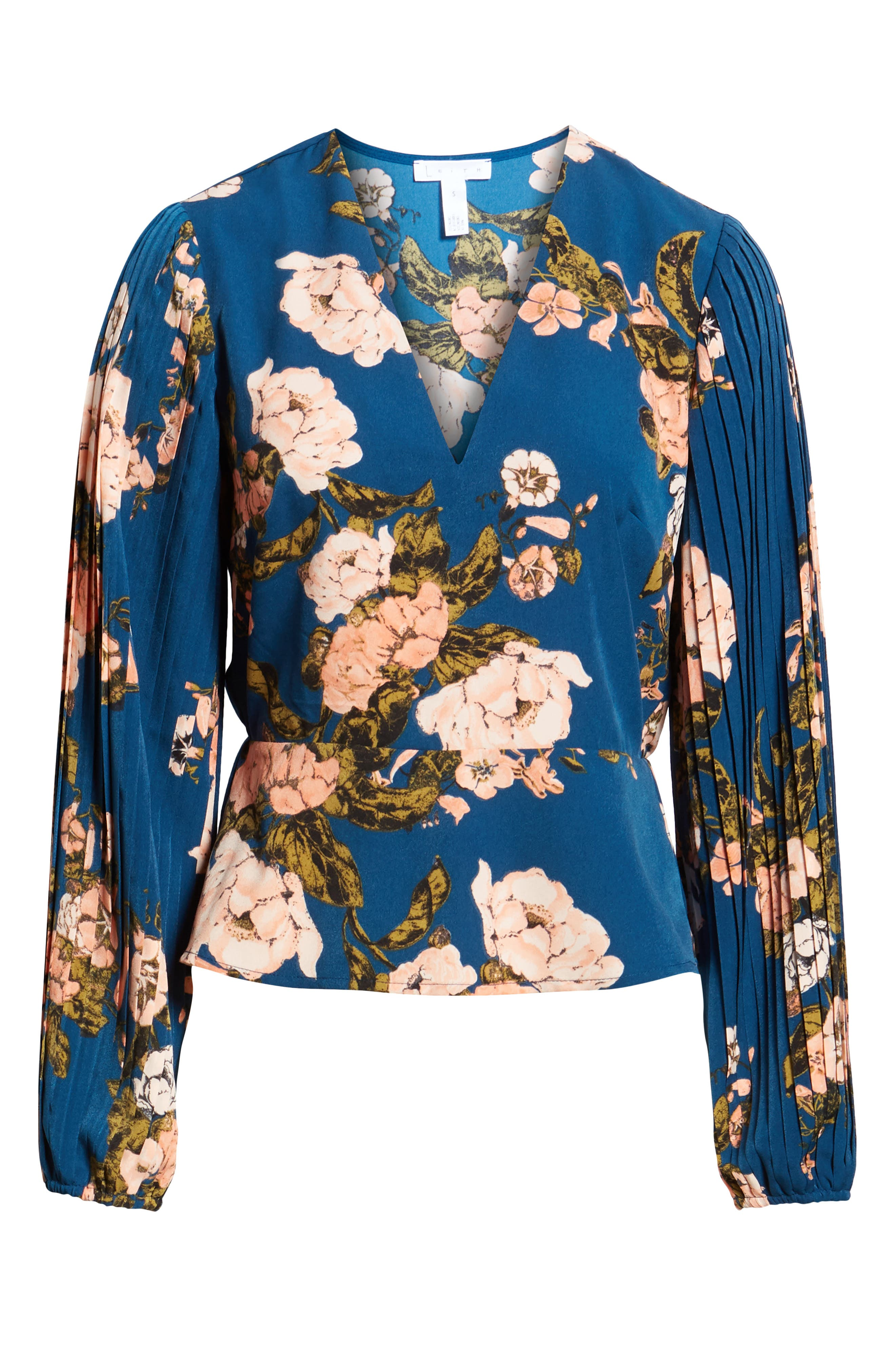 LEITH, Pleated Sleeve Blouse, Alternate thumbnail 6, color, BLUE AURORA TONAL FLORAL