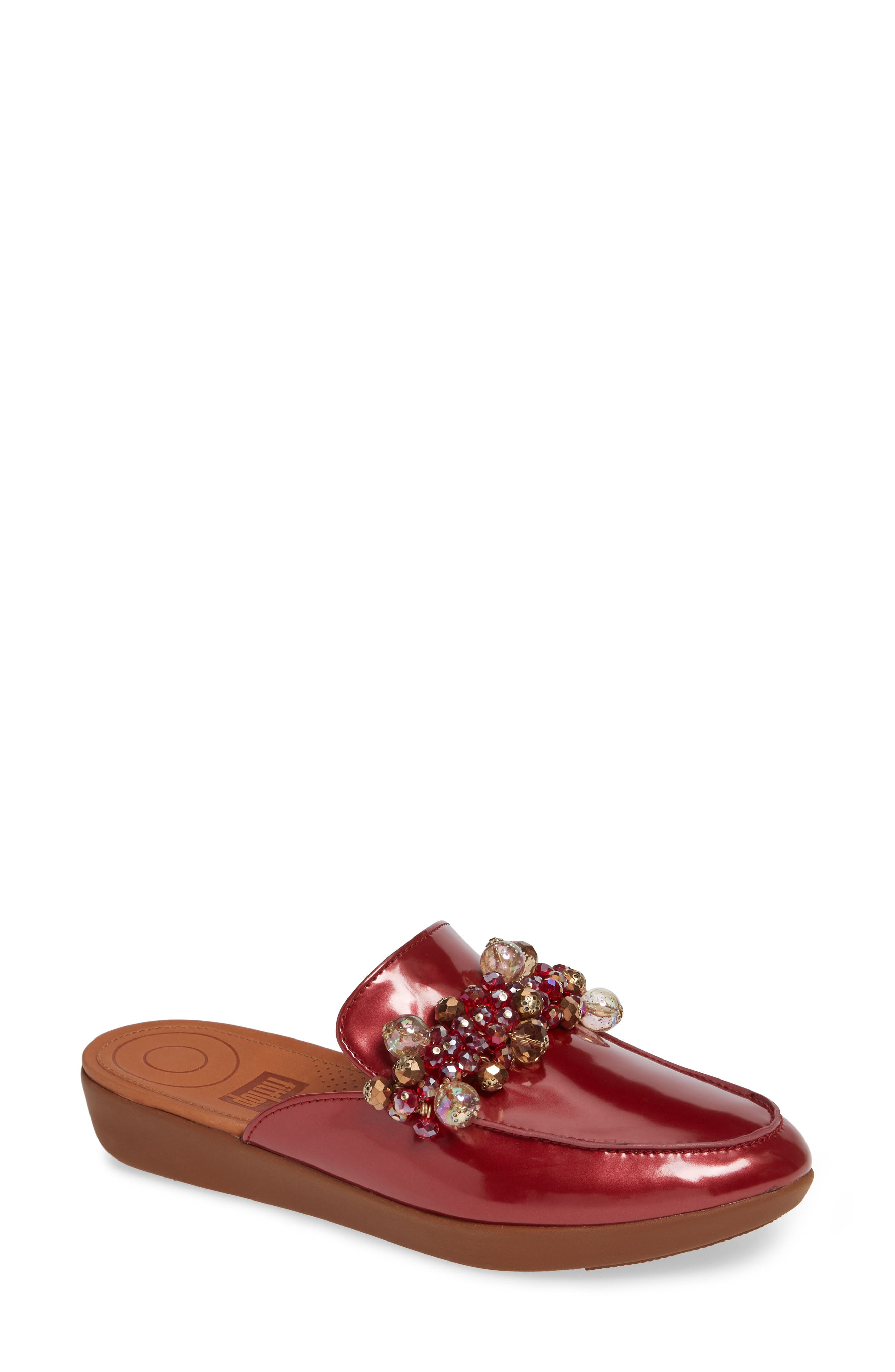 FITFLOP Serene Beaded Mule, Main, color, FIRE RED PATENT LEATHER