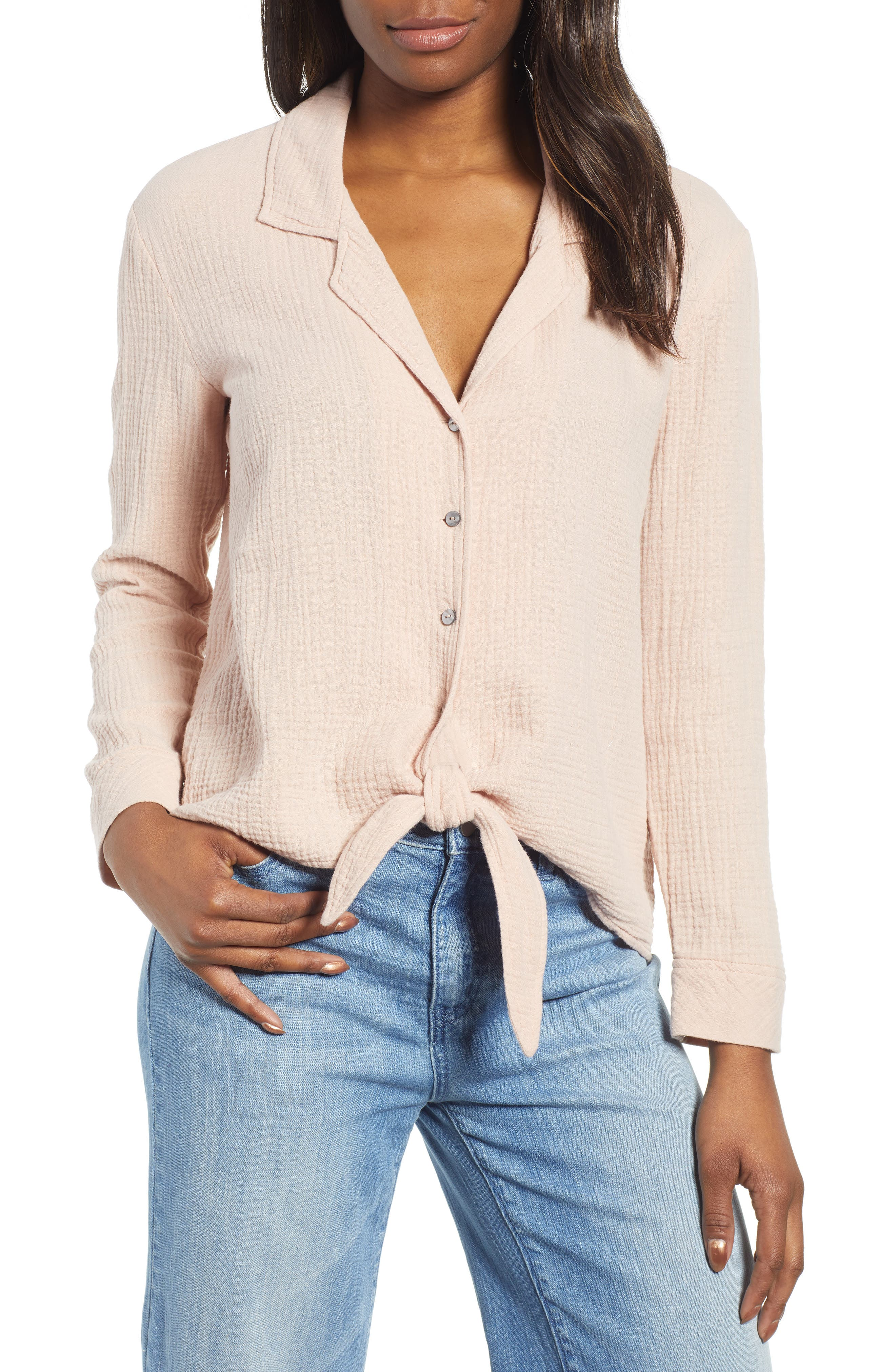 1.STATE Button-Up Tie Front Top, Main, color, ROSE CLAY