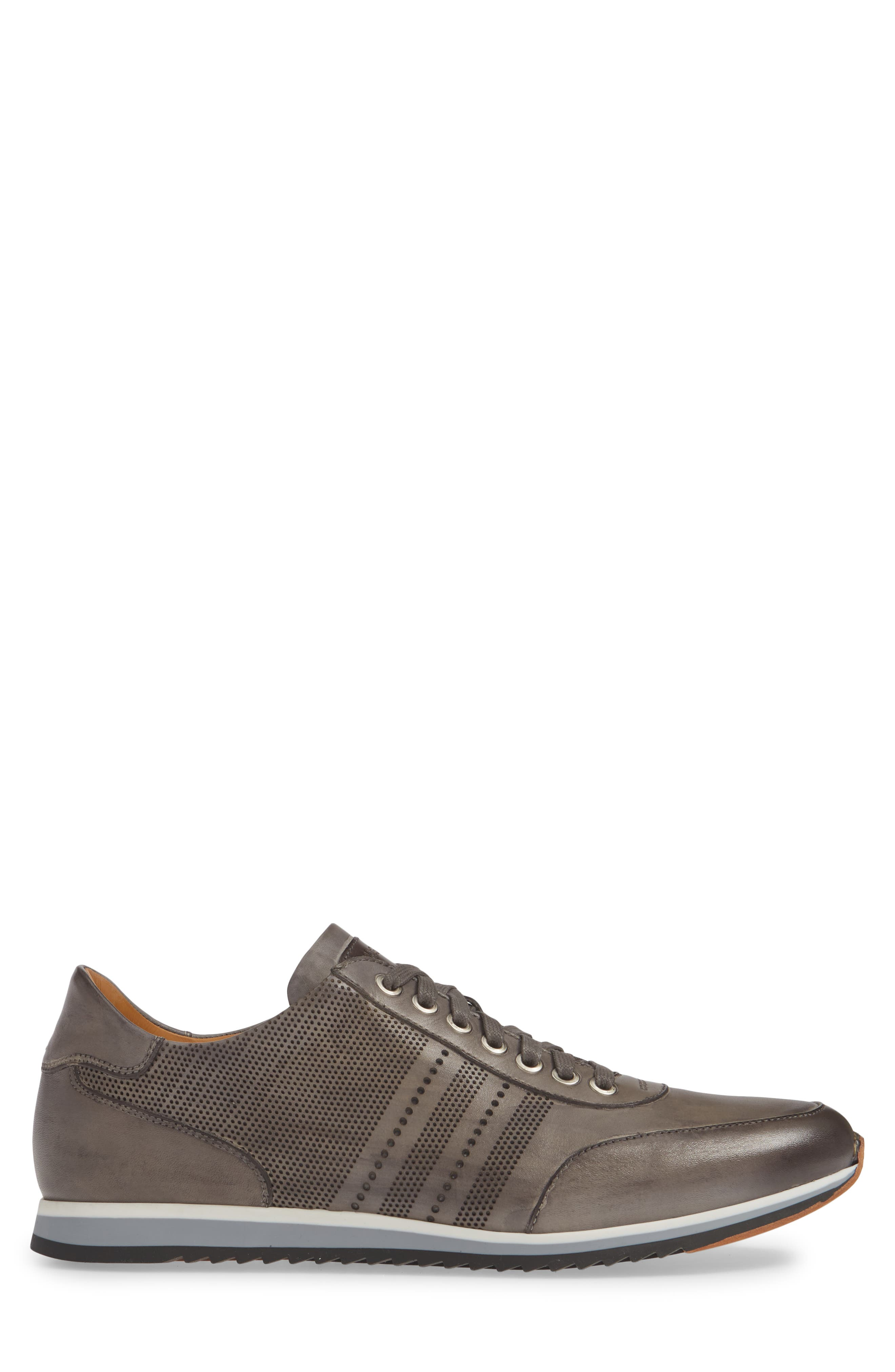 MAGNANNI, Merino Sneaker, Alternate thumbnail 3, color, GREY LEATHER