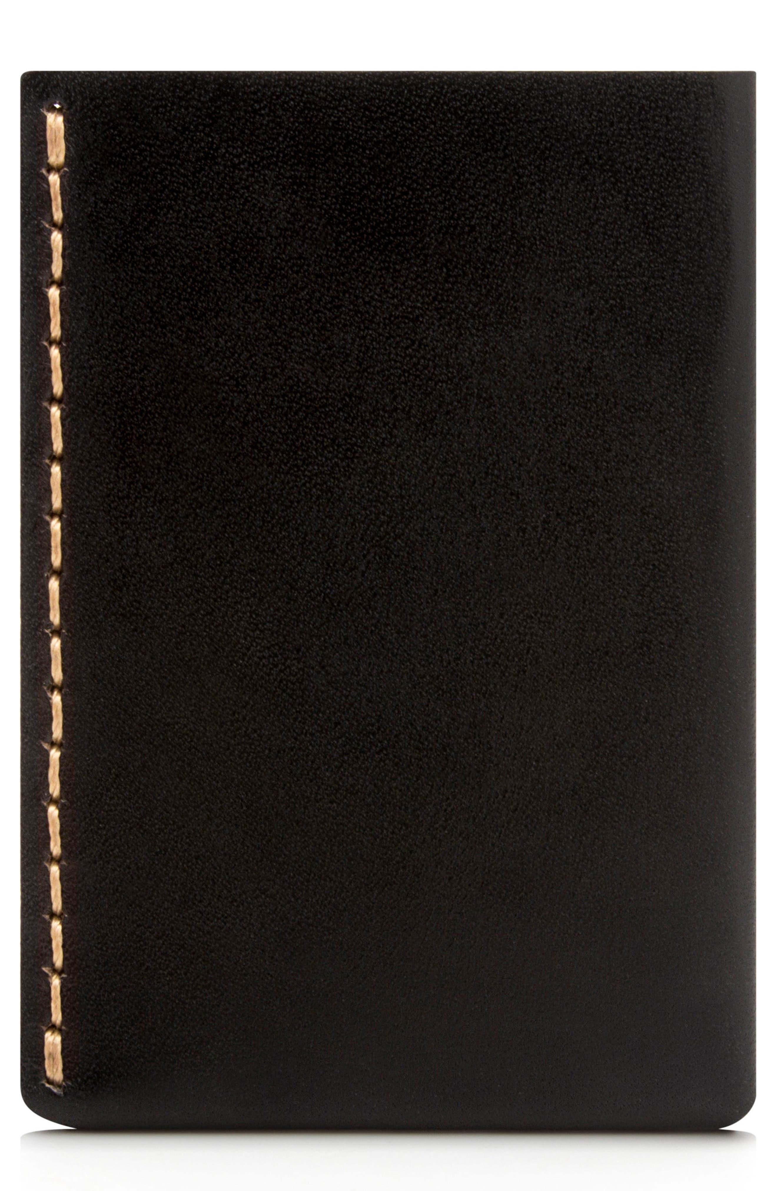 EZRA ARTHUR No. 7 Leather Wallet, Main, color, JET TOP STITCH