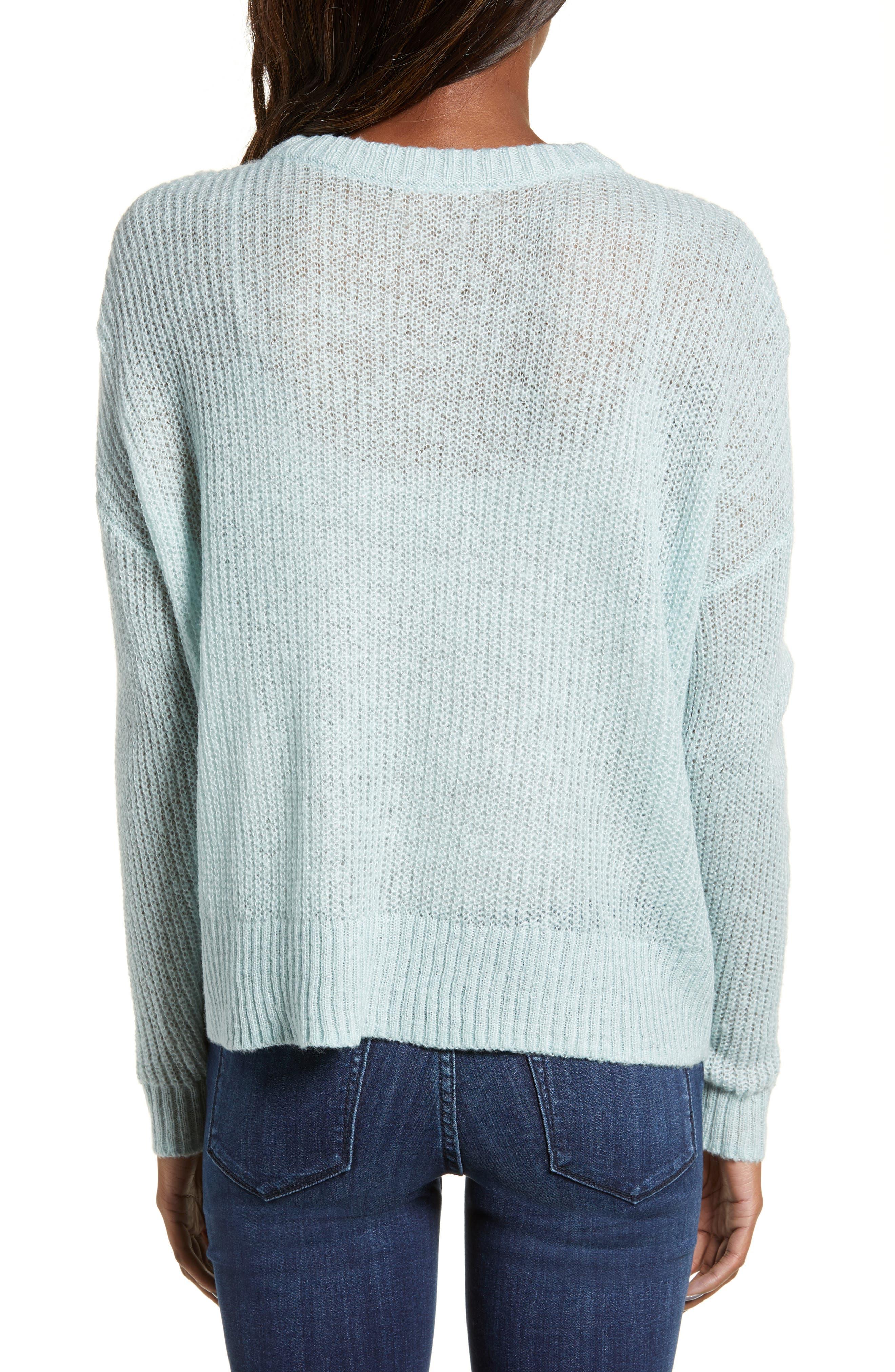 BP., Pointelle Stitch Sweater, Alternate thumbnail 3, color, BLUE CLOUD