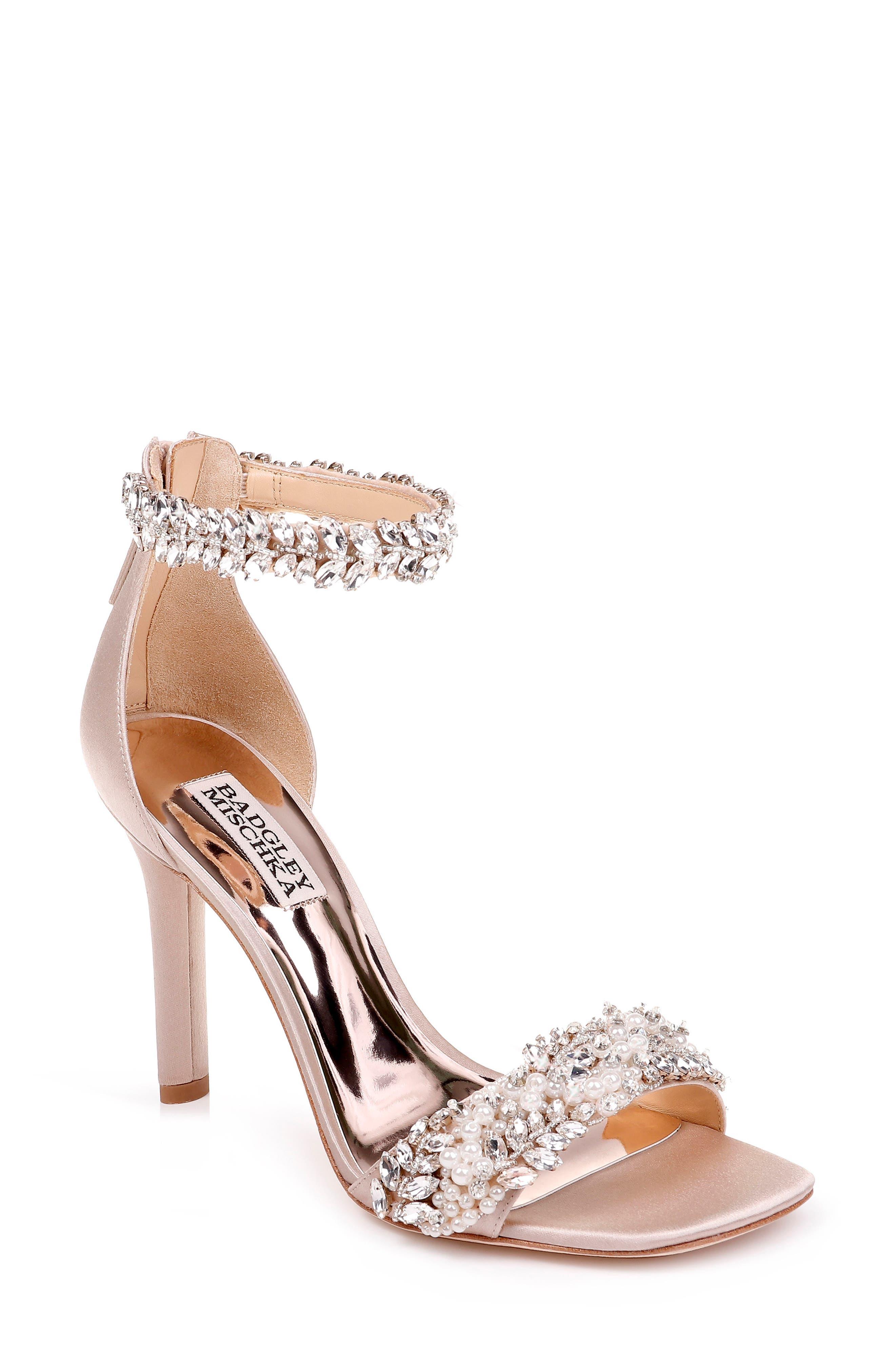 BADGLEY MISCHKA COLLECTION, Badgley Mischka Fiorenza Crystal & Imitation Pearl Embellished Sandal, Main thumbnail 1, color, BEIGE SATIN