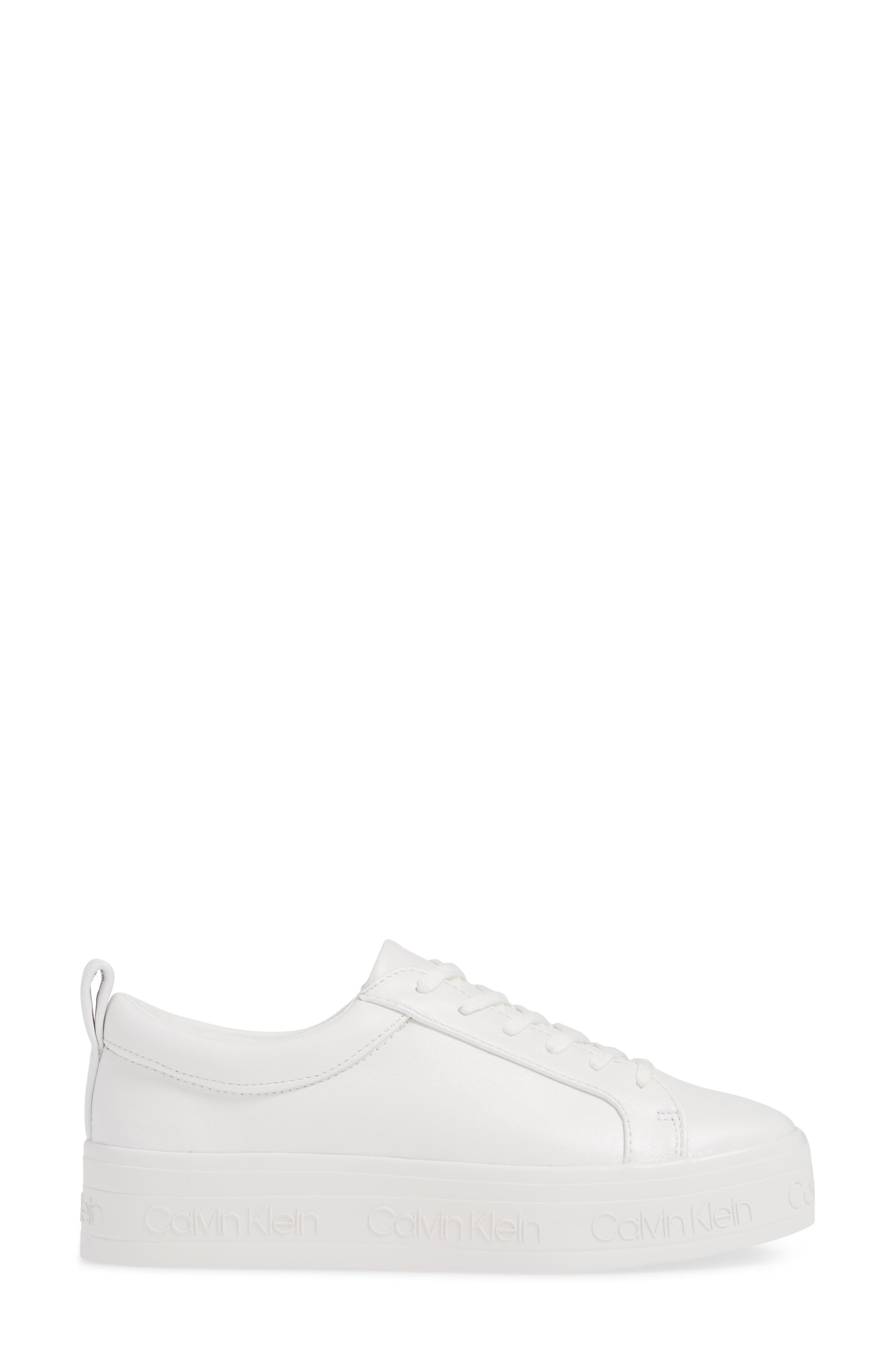 CALVIN KLEIN, Jaelee Sneaker, Alternate thumbnail 3, color, WHITE NAPPA LEATHER