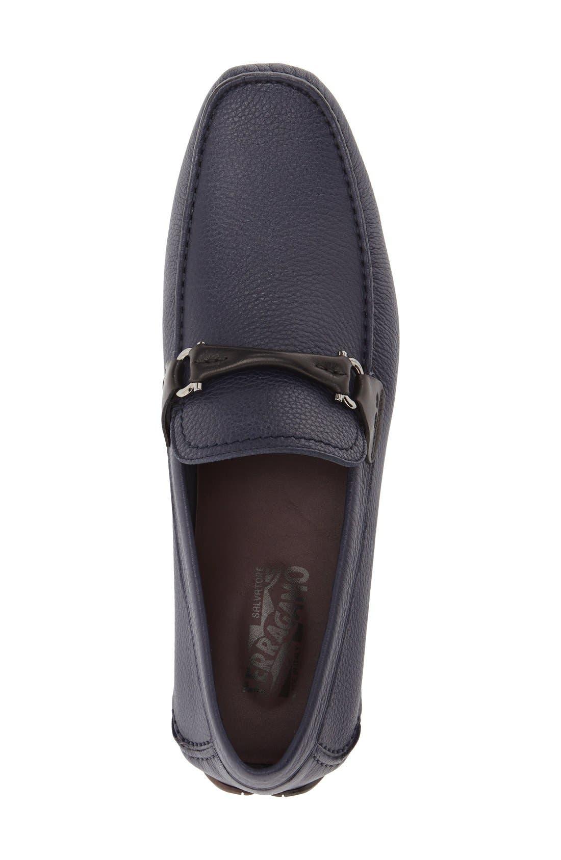 SALVATORE FERRAGAMO, GranprixDriving Shoe, Alternate thumbnail 2, color, BLUE MARIN LEATHER