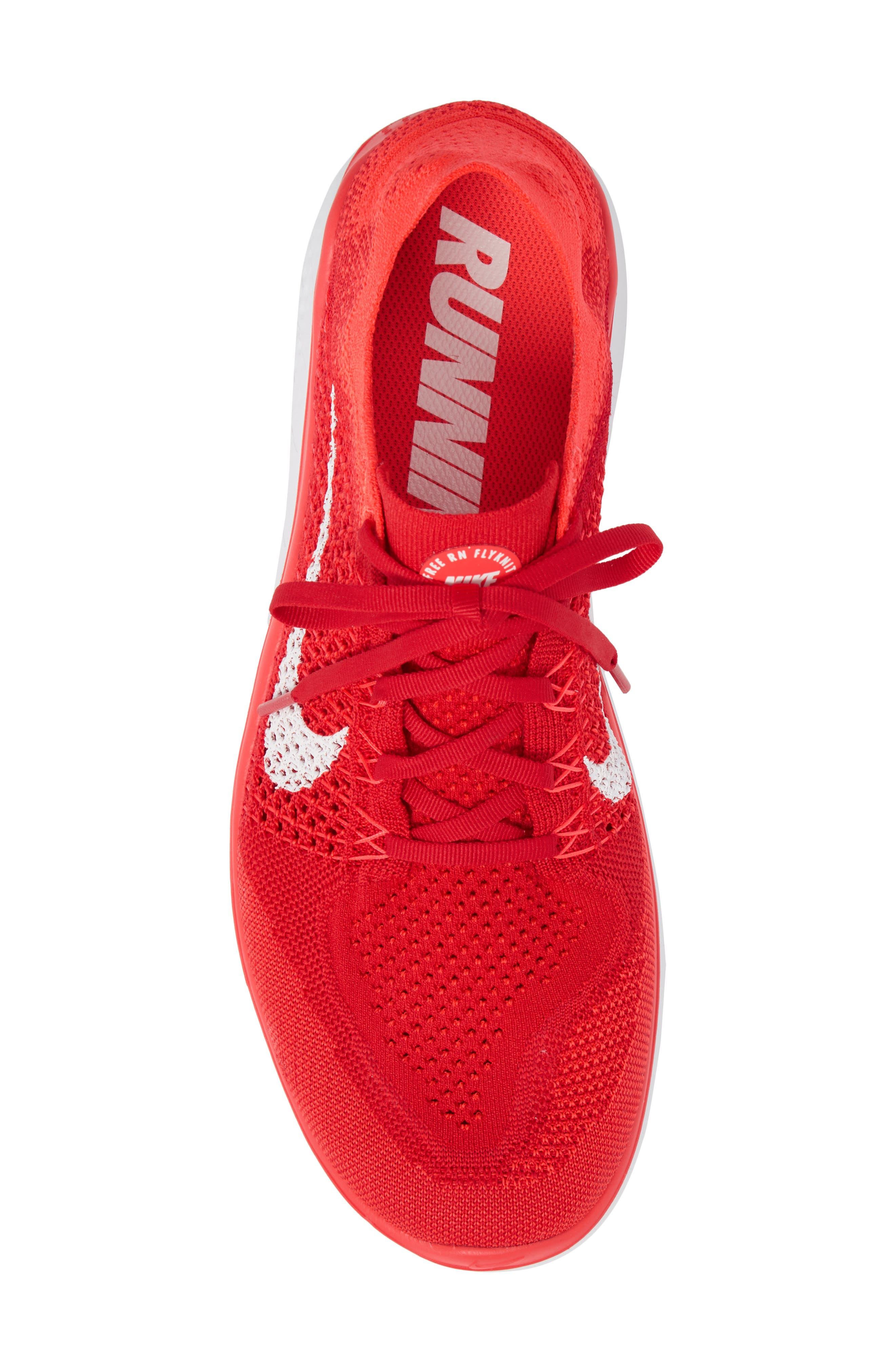 NIKE, Free RN Flyknit 2018 Running Shoe, Alternate thumbnail 5, color, UNIVERSITY RED/ WHITE/ CRIMSON