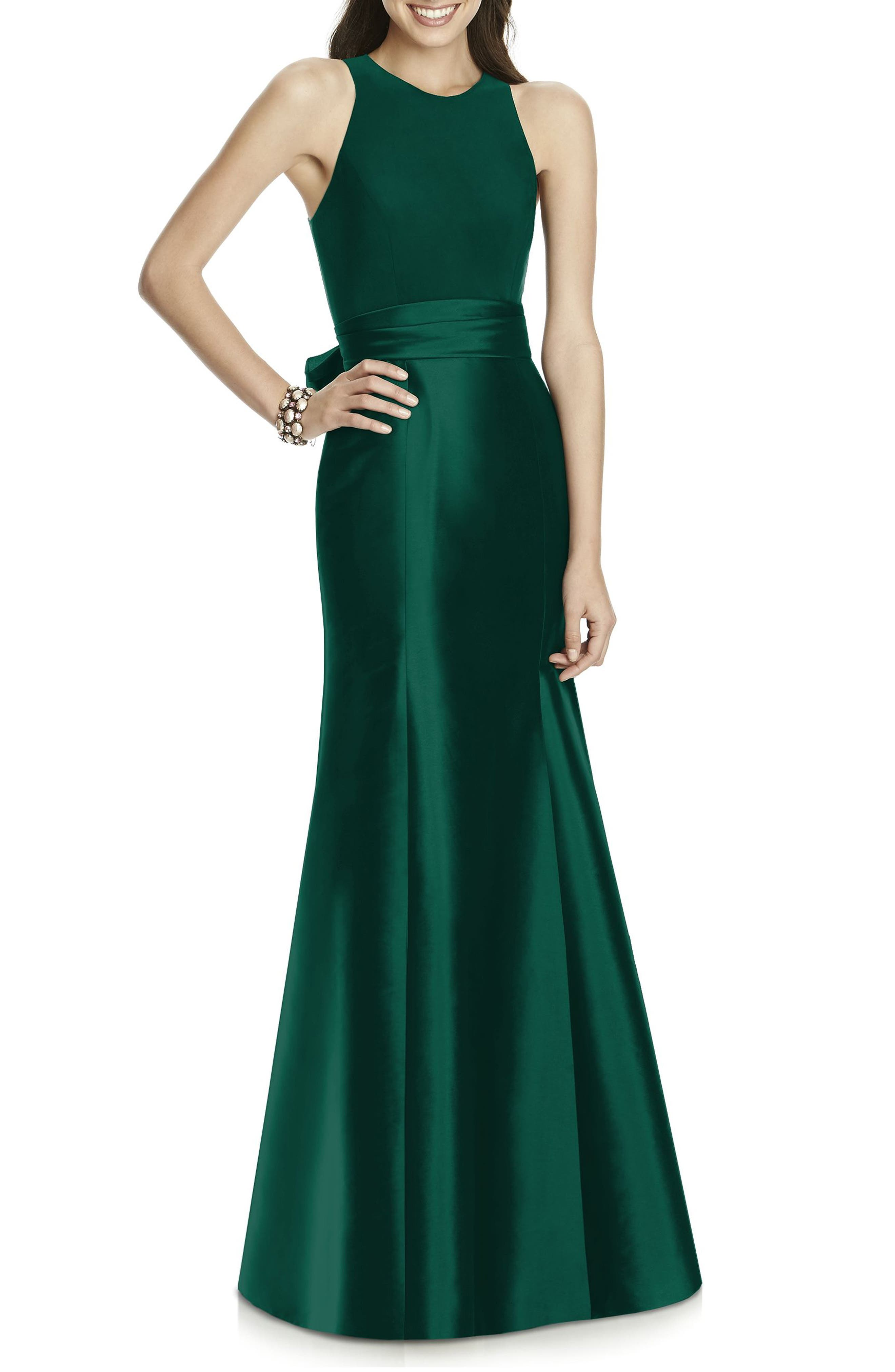 ALFRED SUNG, Mikado Jersey Bodice Trumpet Gown, Alternate thumbnail 3, color, HUNTER