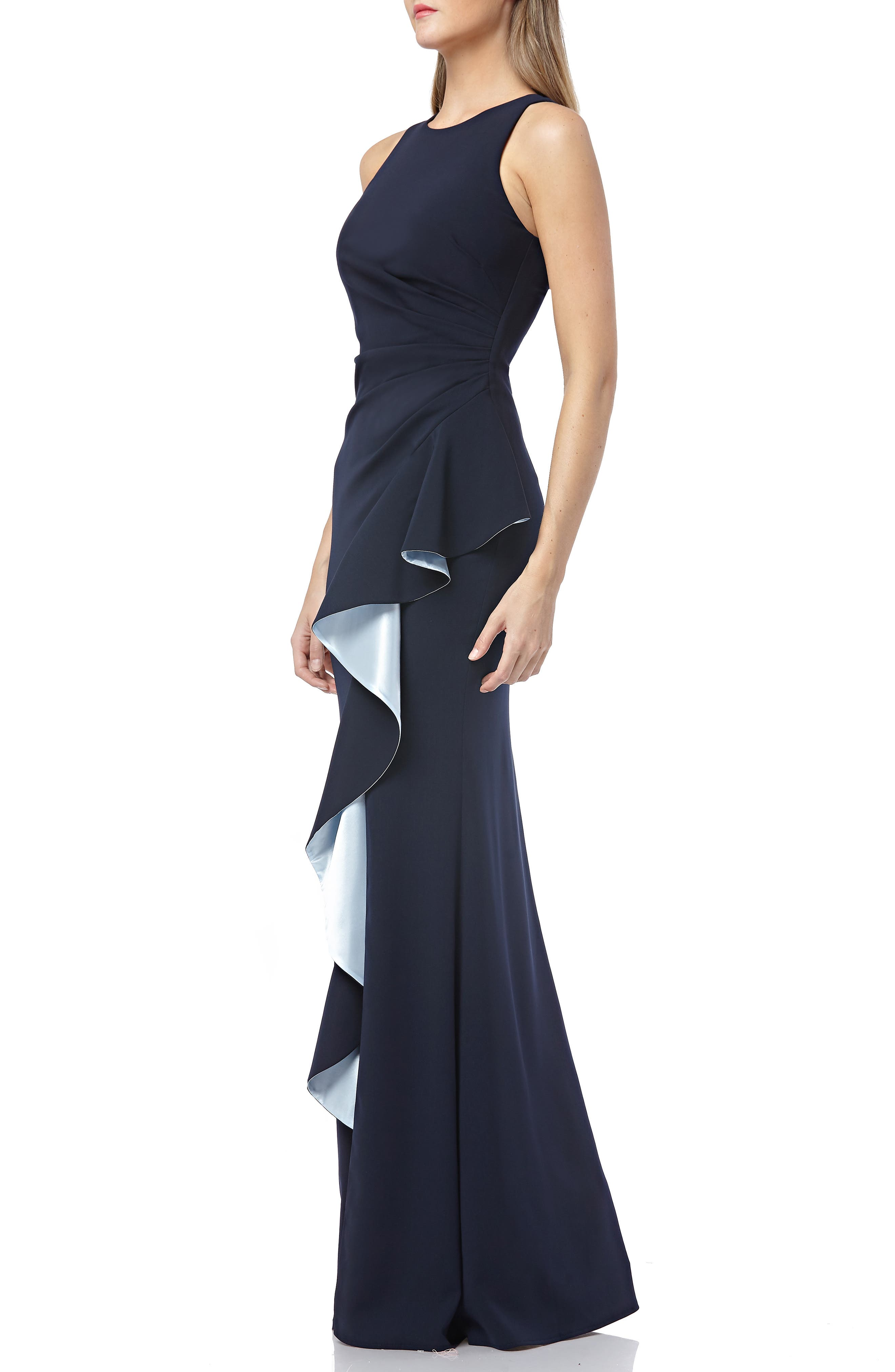 CARMEN MARC VALVO INFUSION, Carmen Marc Valvo Couture Infusion Ruffle Gown, Alternate thumbnail 4, color, NAVY/ ICE BLUE