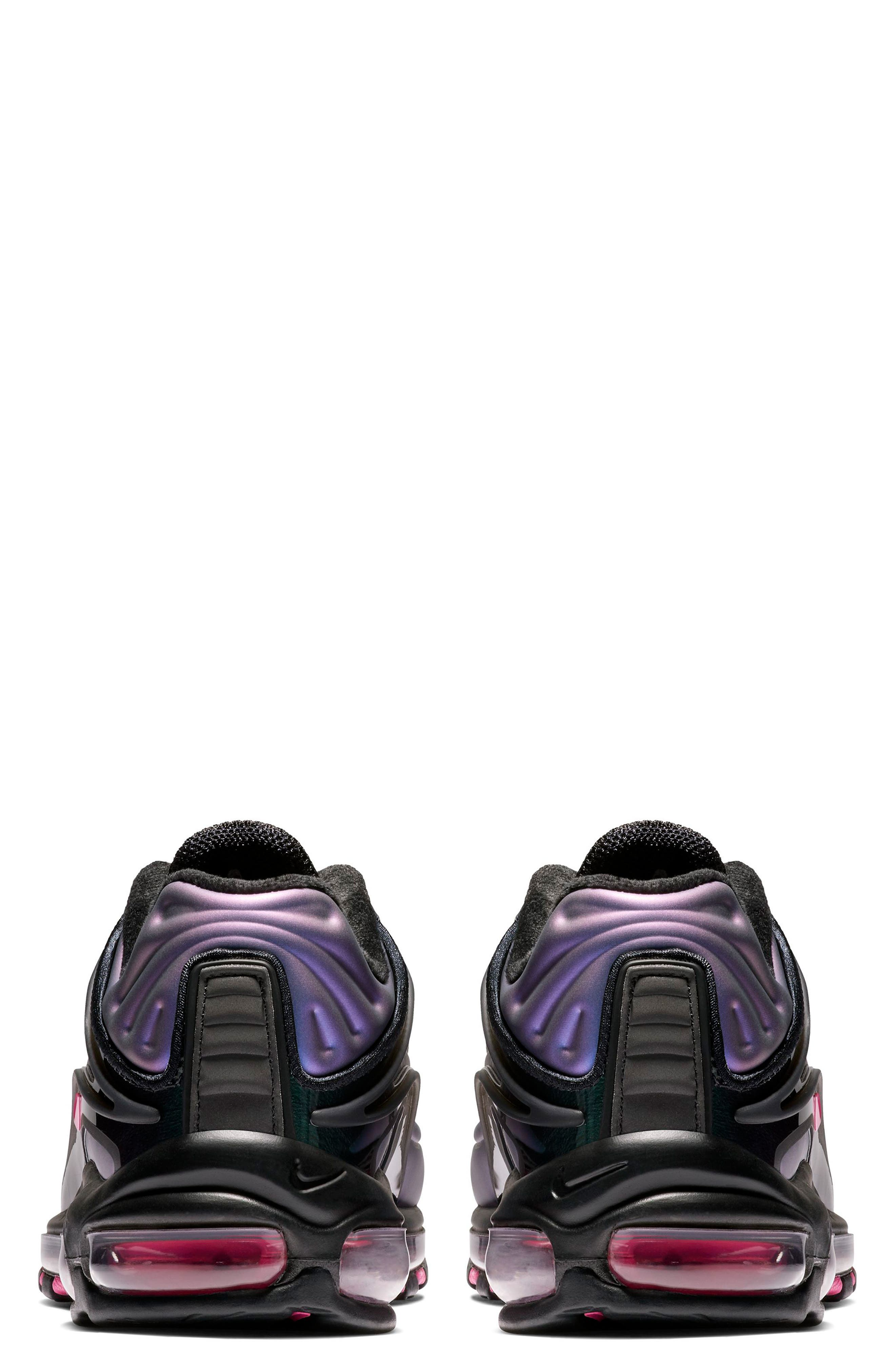 NIKE, Air Max Deluxe Sneaker, Alternate thumbnail 2, color, BLACK/ LASER FUCHSIA