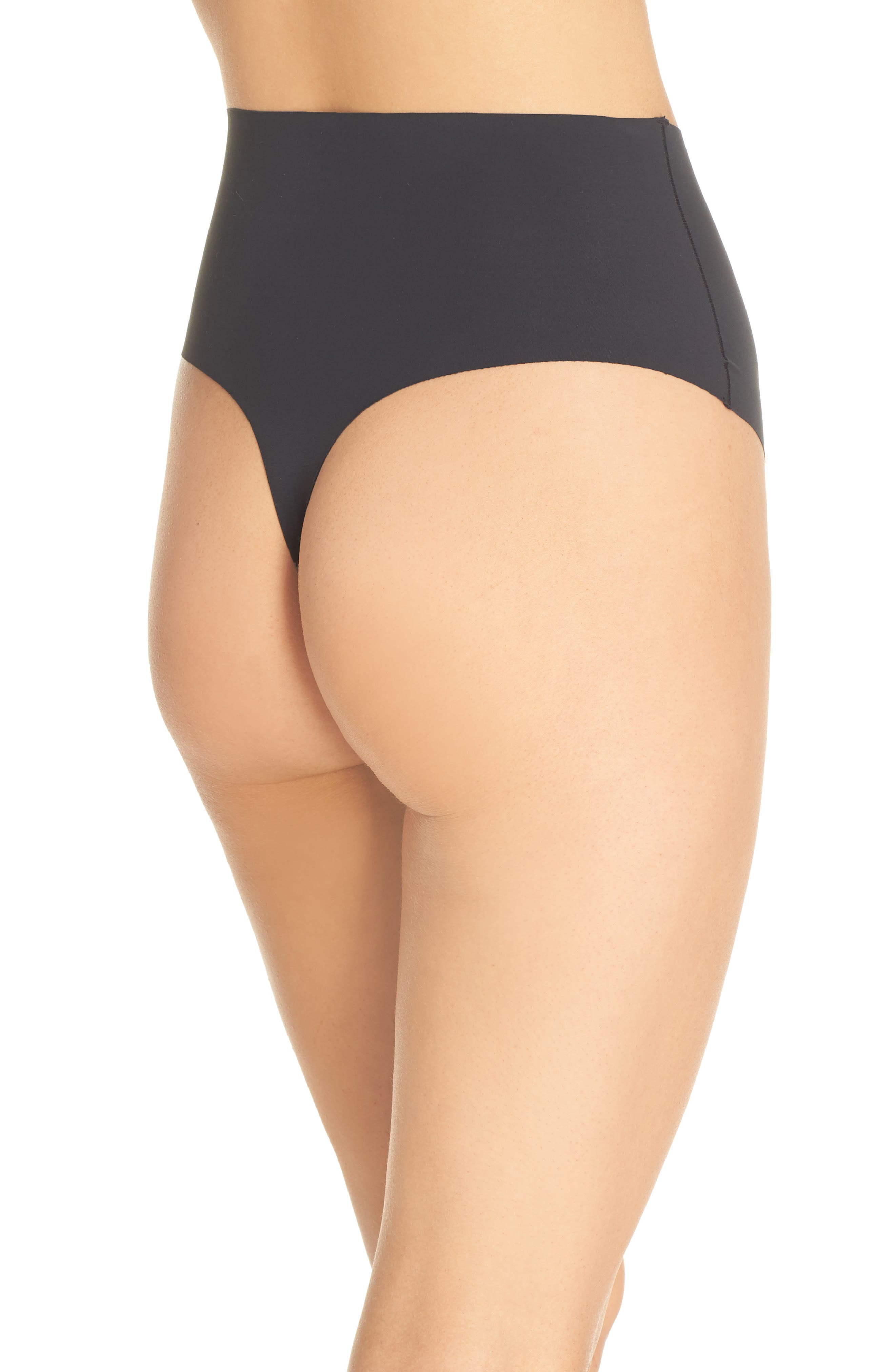 YUMMIE, Smooth Solutions Mid Waist Thong, Alternate thumbnail 2, color, BLACK