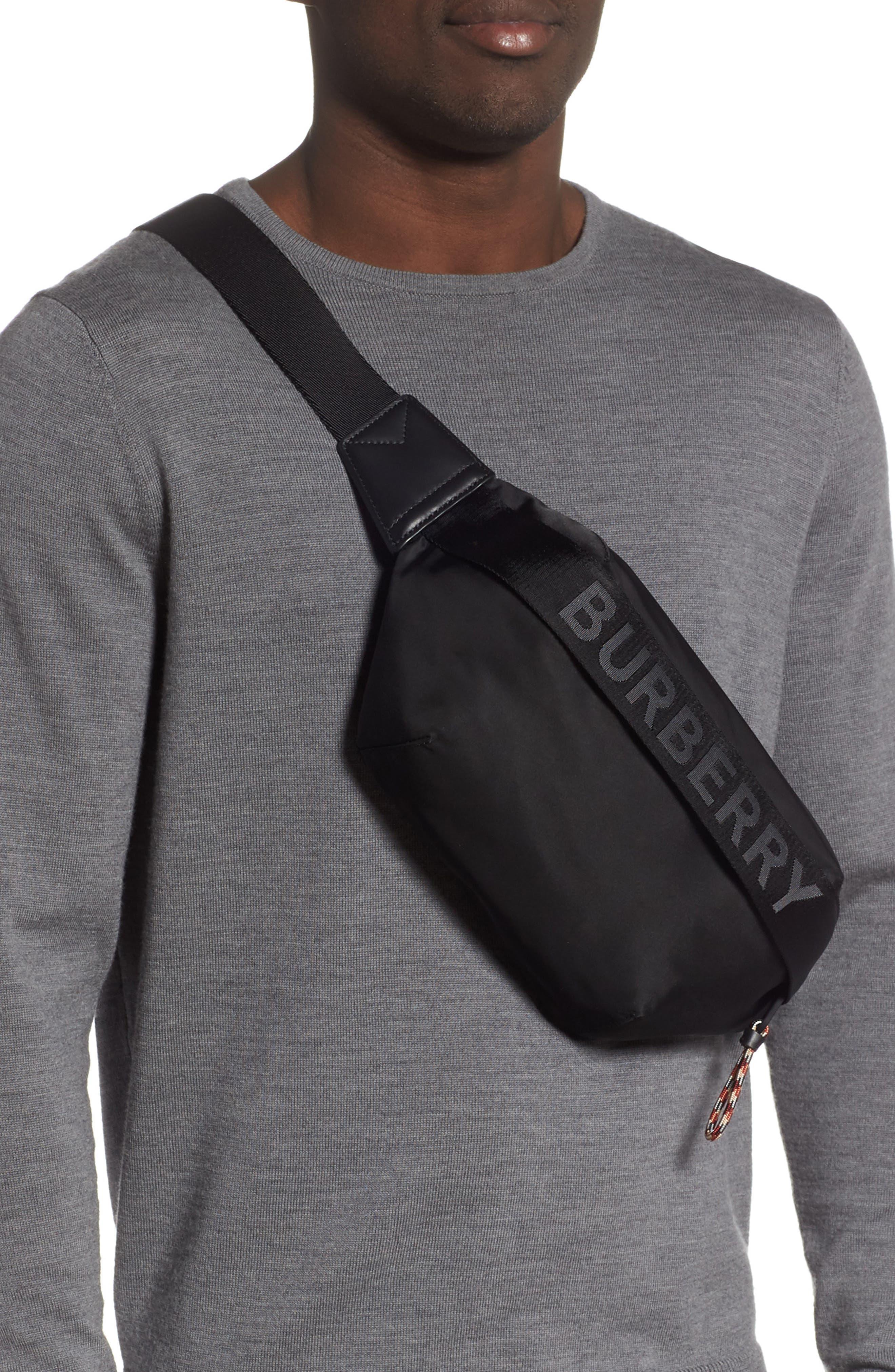 BURBERRY, Medium Sonny Logo Belt Bag, Alternate thumbnail 3, color, BLACK