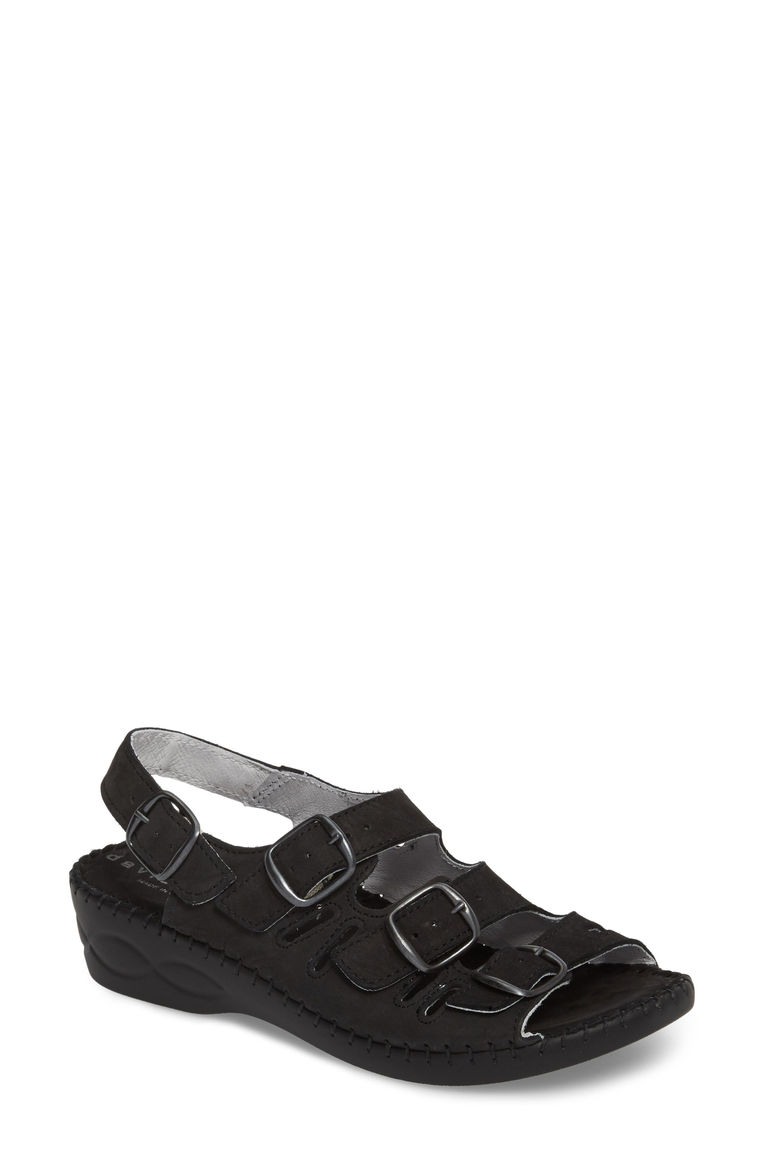 DAVID TATE, Luna Slingback Wedge Sandal, Main thumbnail 1, color, BLACK NUBUCK
