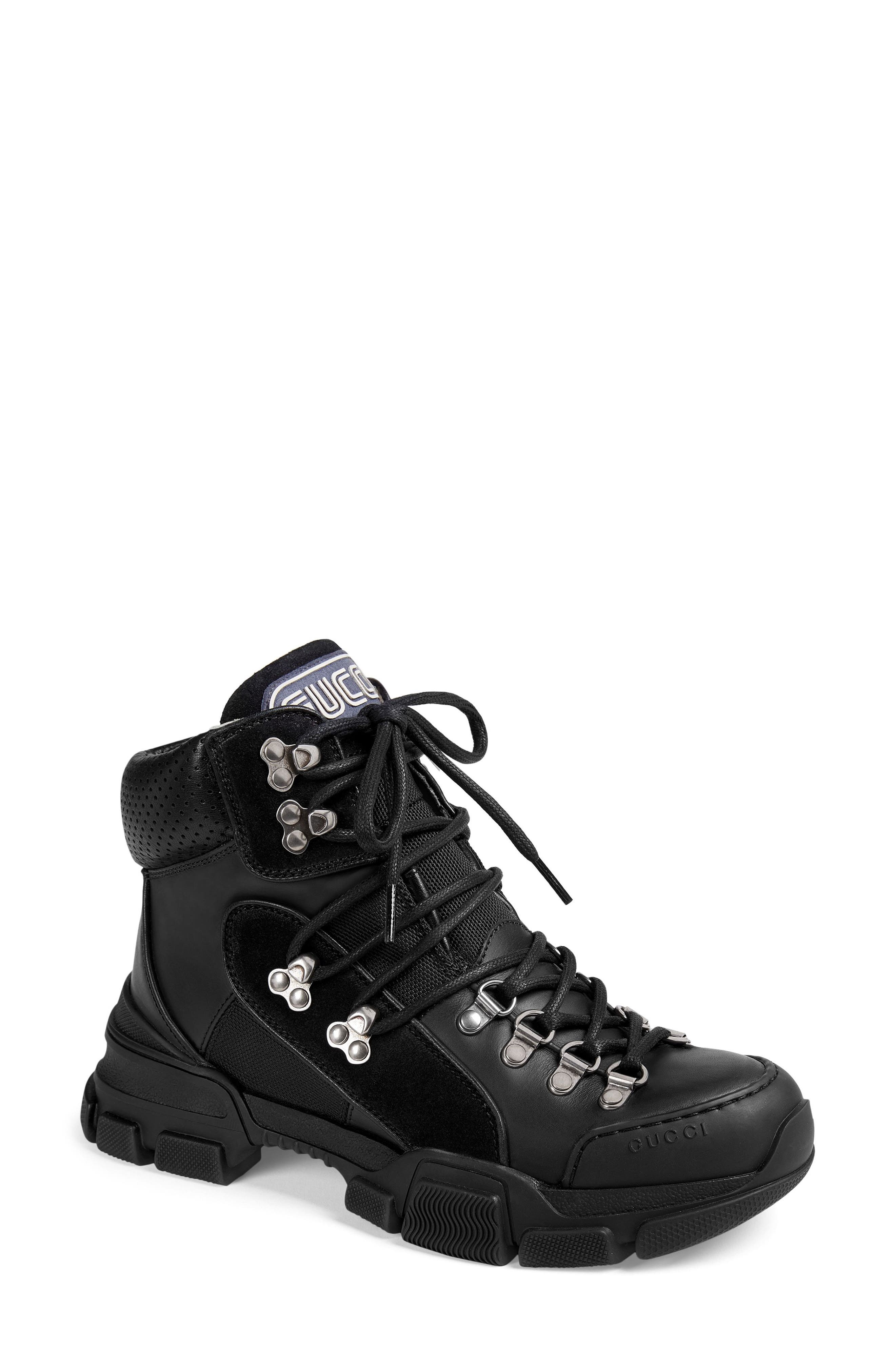 GUCCI, Lace-Up Boot, Main thumbnail 1, color, BLACK