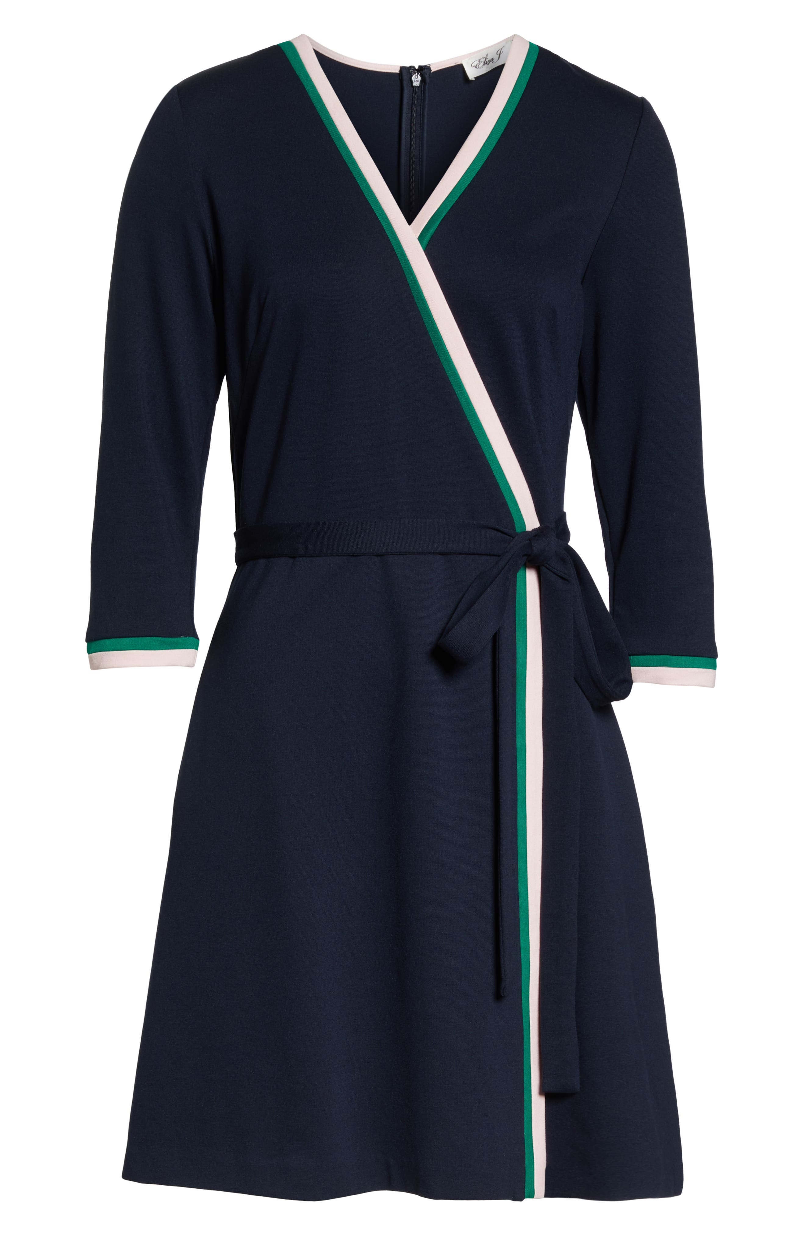 ELIZA J, Stripe Faux Wrap Dress, Alternate thumbnail 7, color, 410