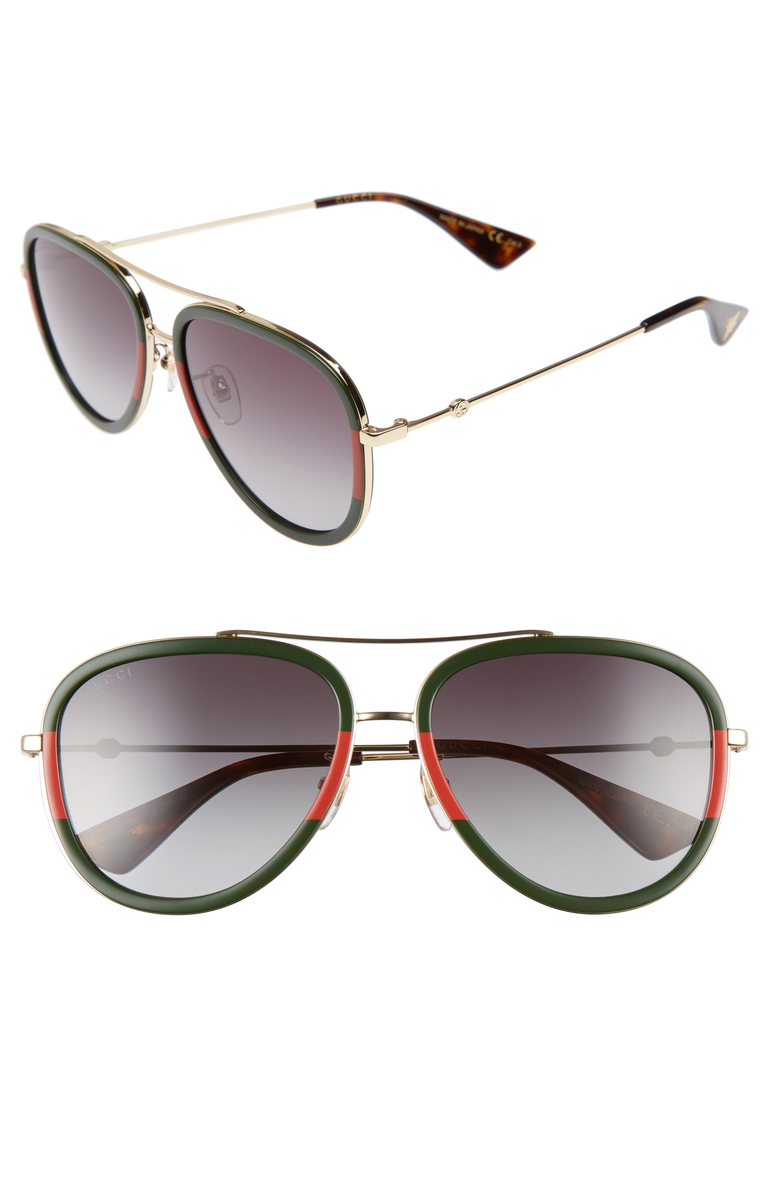 GUCCI 57mm Aivator Sunglasses, Main, color, MEDIUM GOLD
