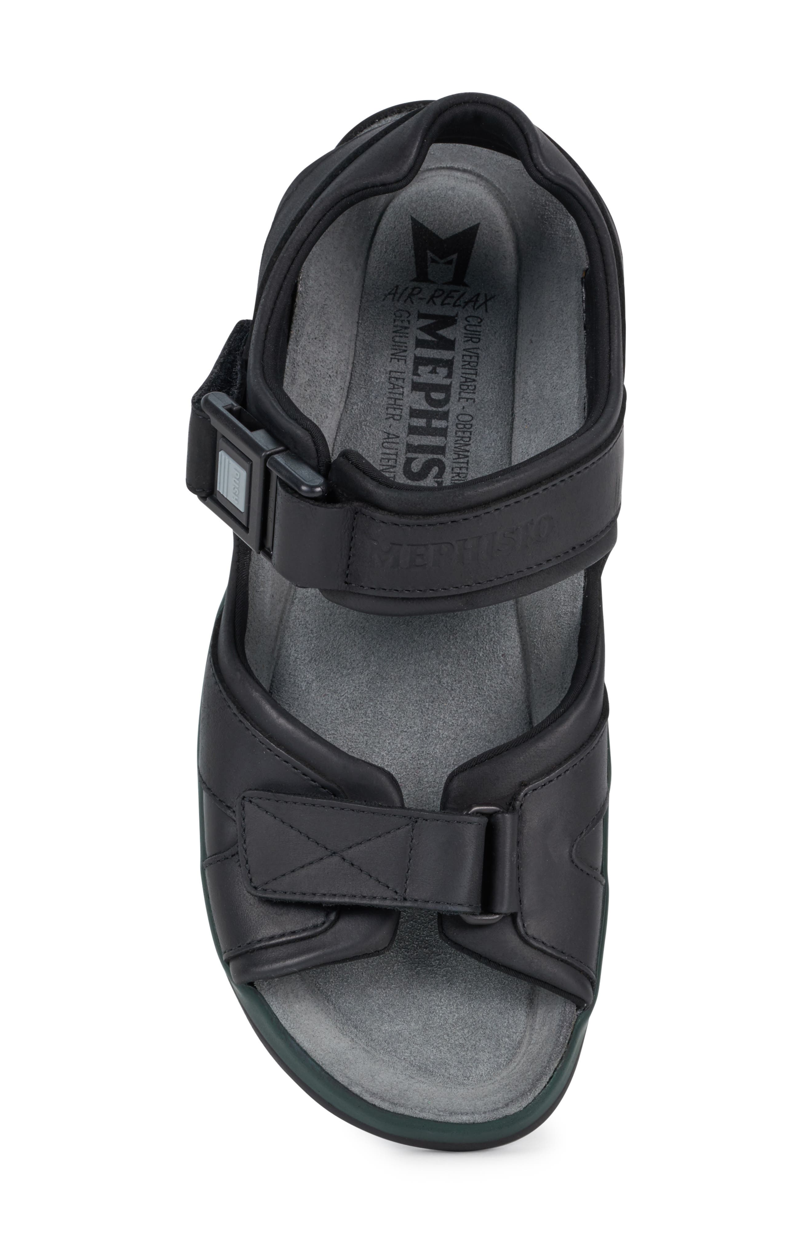 MEPHISTO, 'Shark' Sandal, Alternate thumbnail 5, color, BLACK WAXED LEATHER
