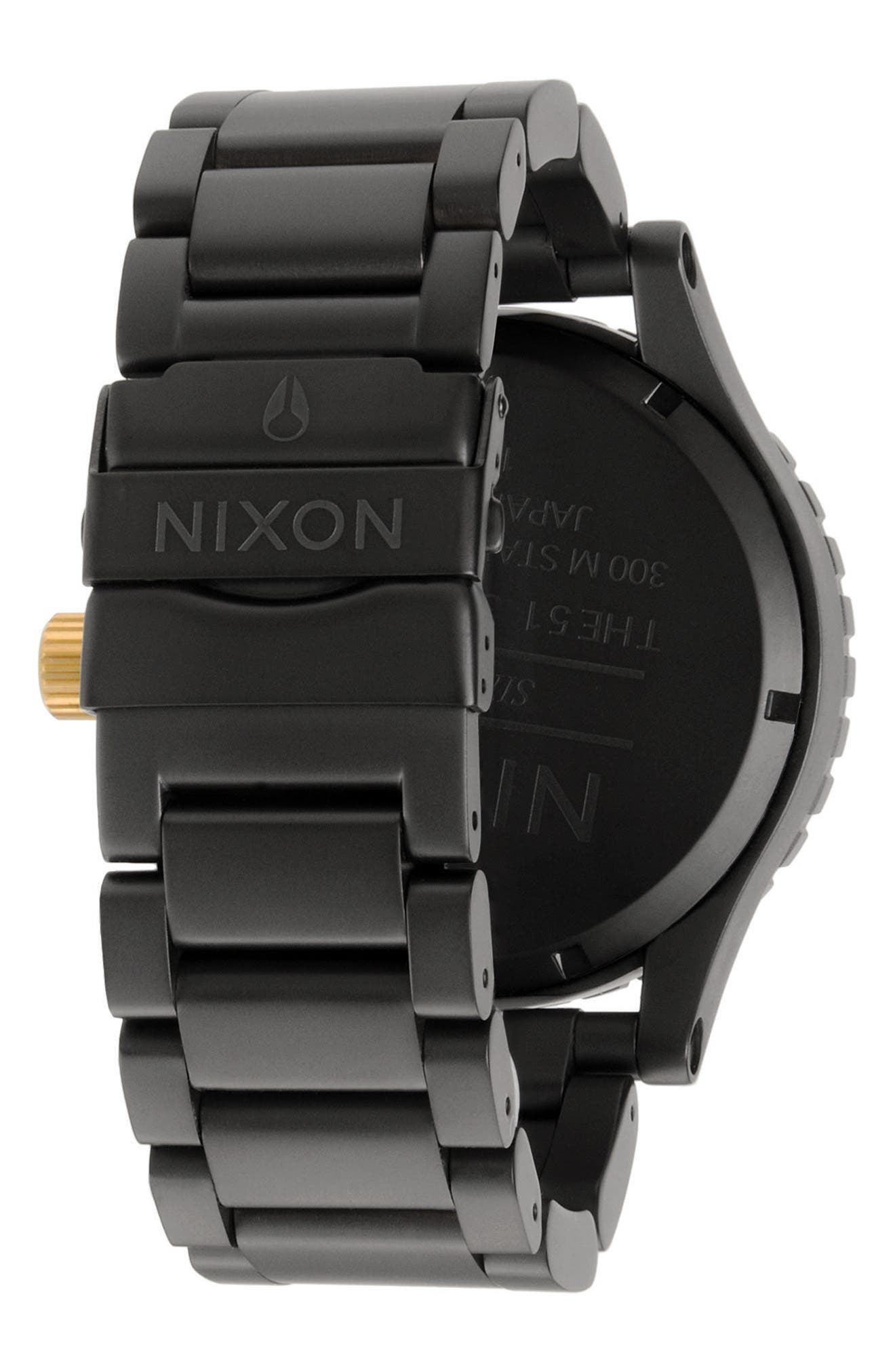 NIXON, 'The 51-30 Chrono' Watch, 51mm, Alternate thumbnail 2, color, MATTE BLACK/ GOLD