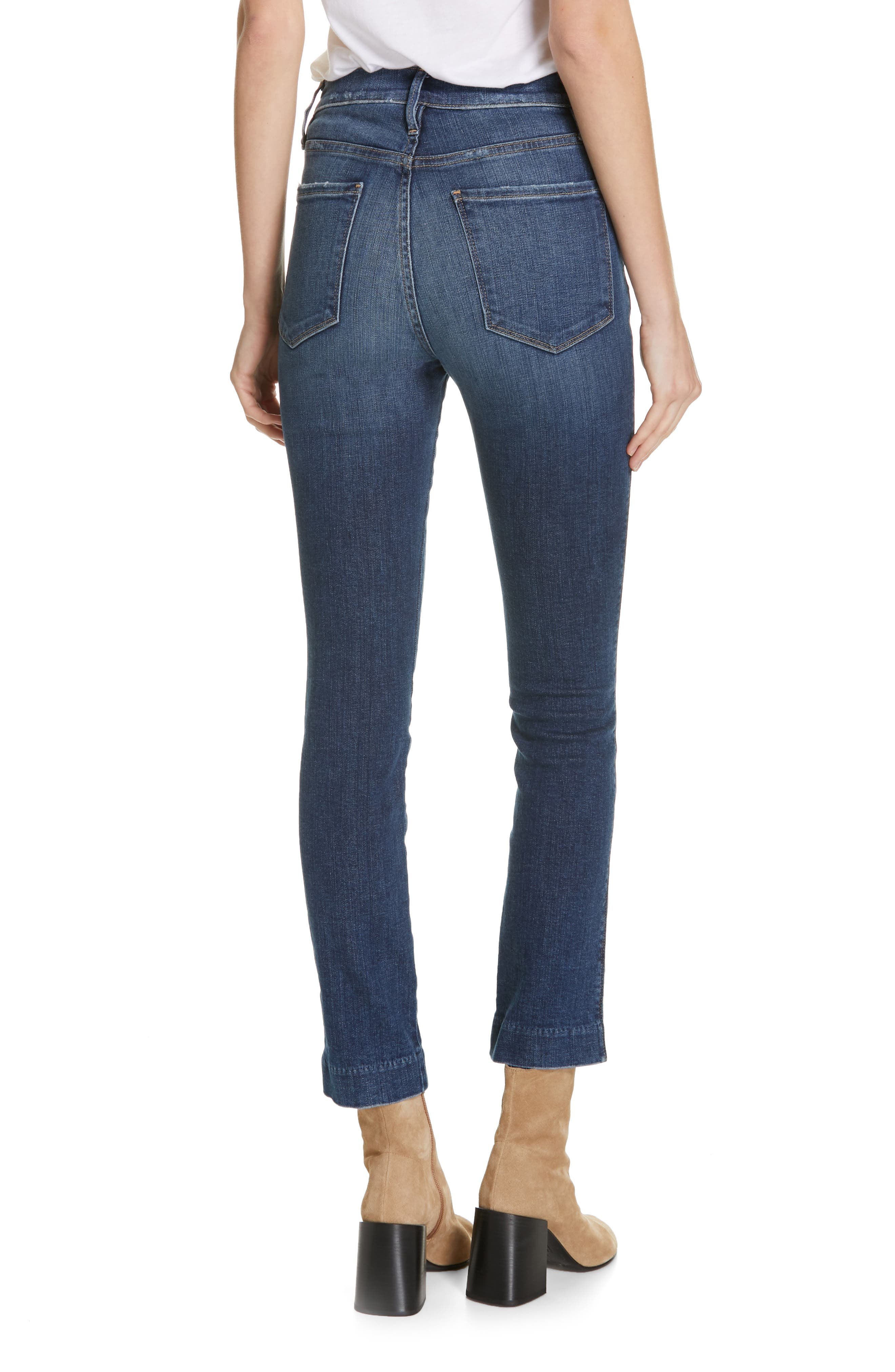 FRAME, Le Sylvie Blind Stitch Straight Leg Jeans, Alternate thumbnail 2, color, JOURNEY