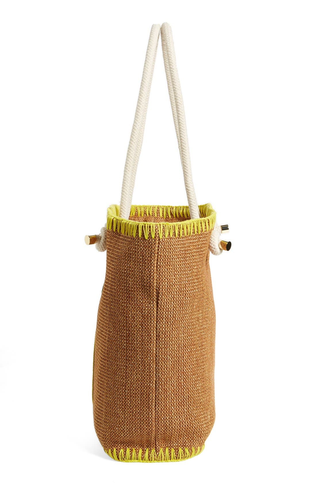 TORY BURCH, 'Pineapple' Woven Tote, Alternate thumbnail 5, color, 200