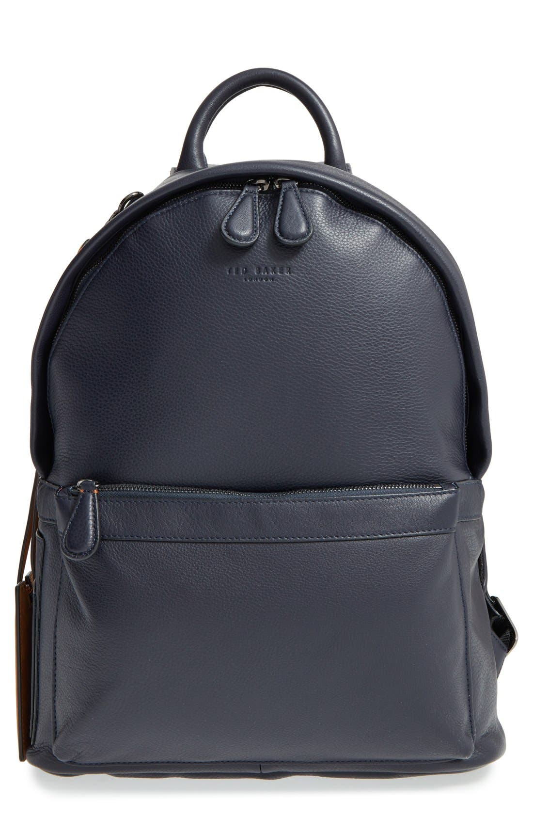 TED BAKER LONDON, 'Dollar' Leather Backpack, Main thumbnail 1, color, 410