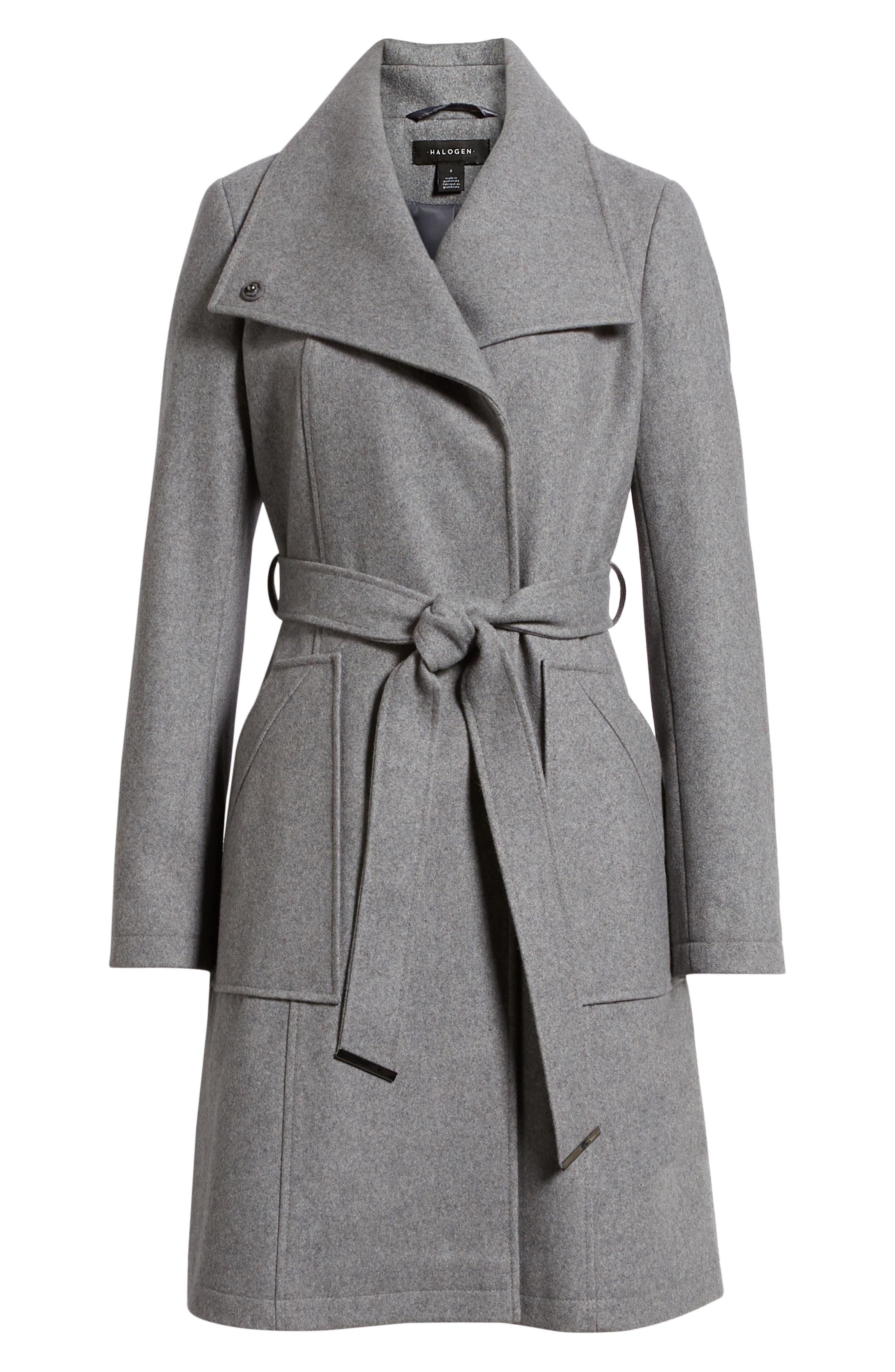 HALOGEN<SUP>®</SUP>, Belted Wool Blend Coat, Alternate thumbnail 6, color, GREY