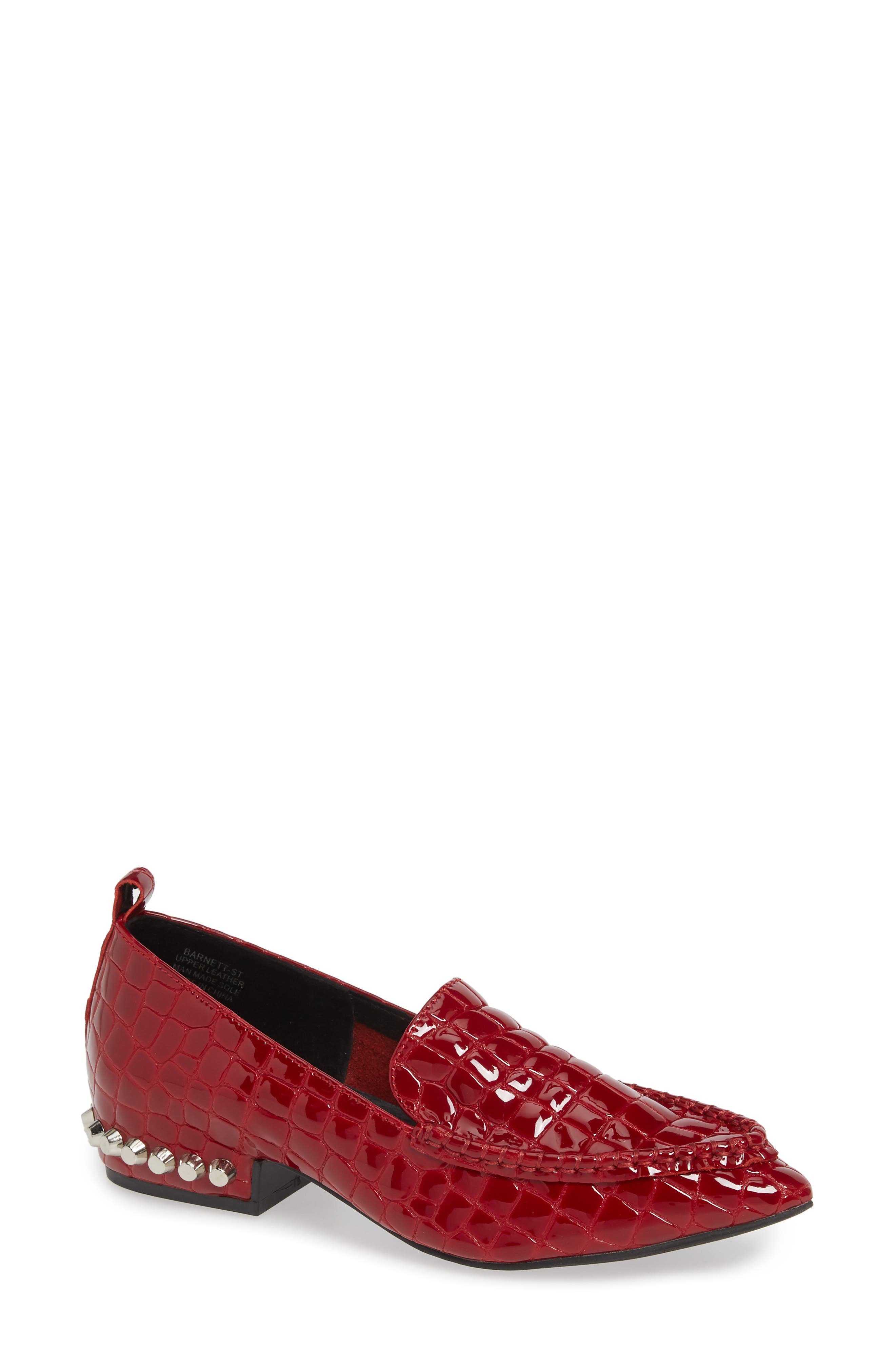 JEFFREY CAMPBELL, Barnett Studded Loafer, Main thumbnail 1, color, RED CROCODILE PRINT LEATHER