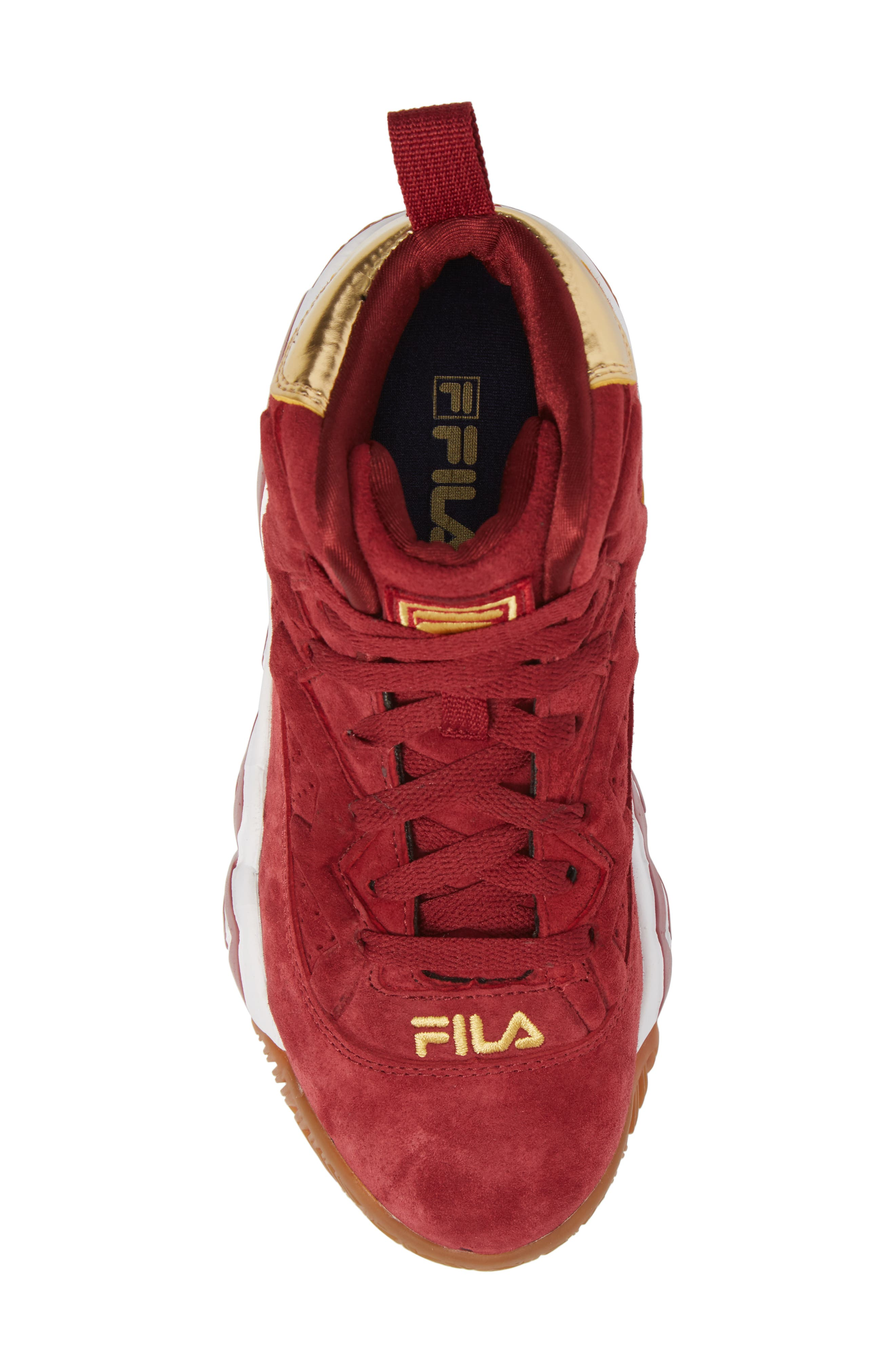 FILA, Heritage Sneaker, Alternate thumbnail 5, color, BIKING RED/ GOLD/ WHITE