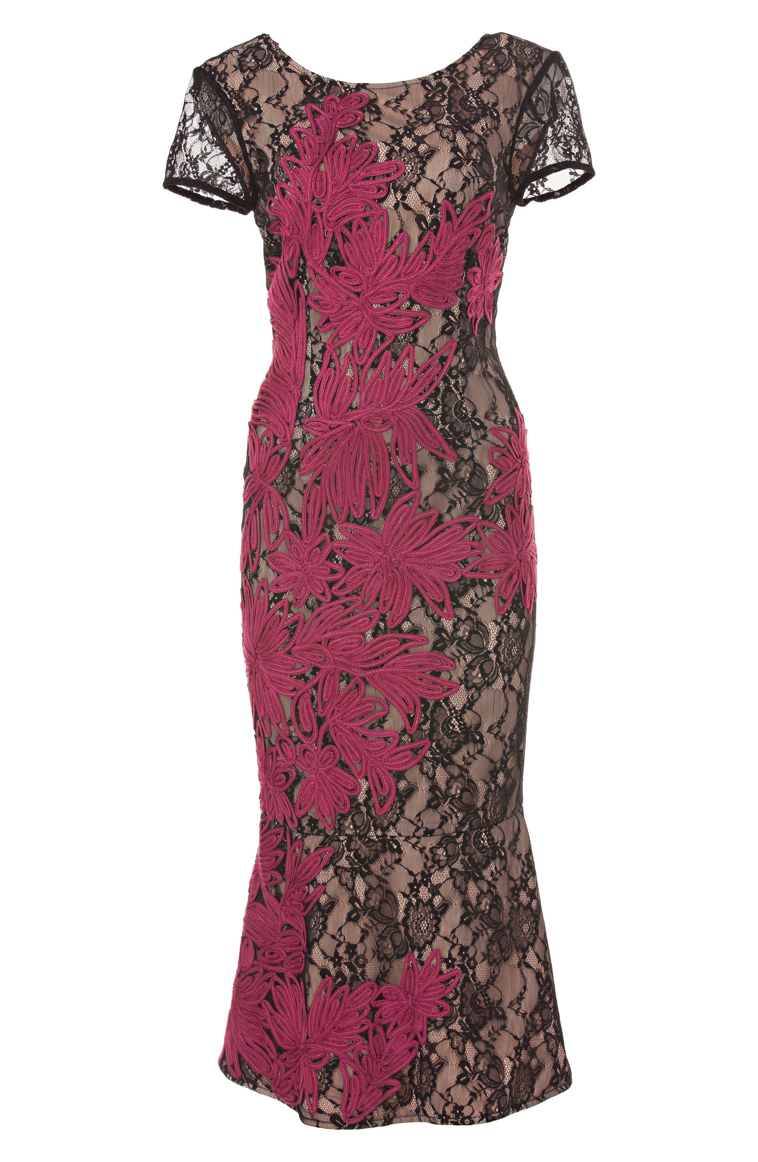 JS COLLECTIONS, Soutache Embroidered Lace Dress, Alternate thumbnail 4, color, BLACK/ MAGENTA