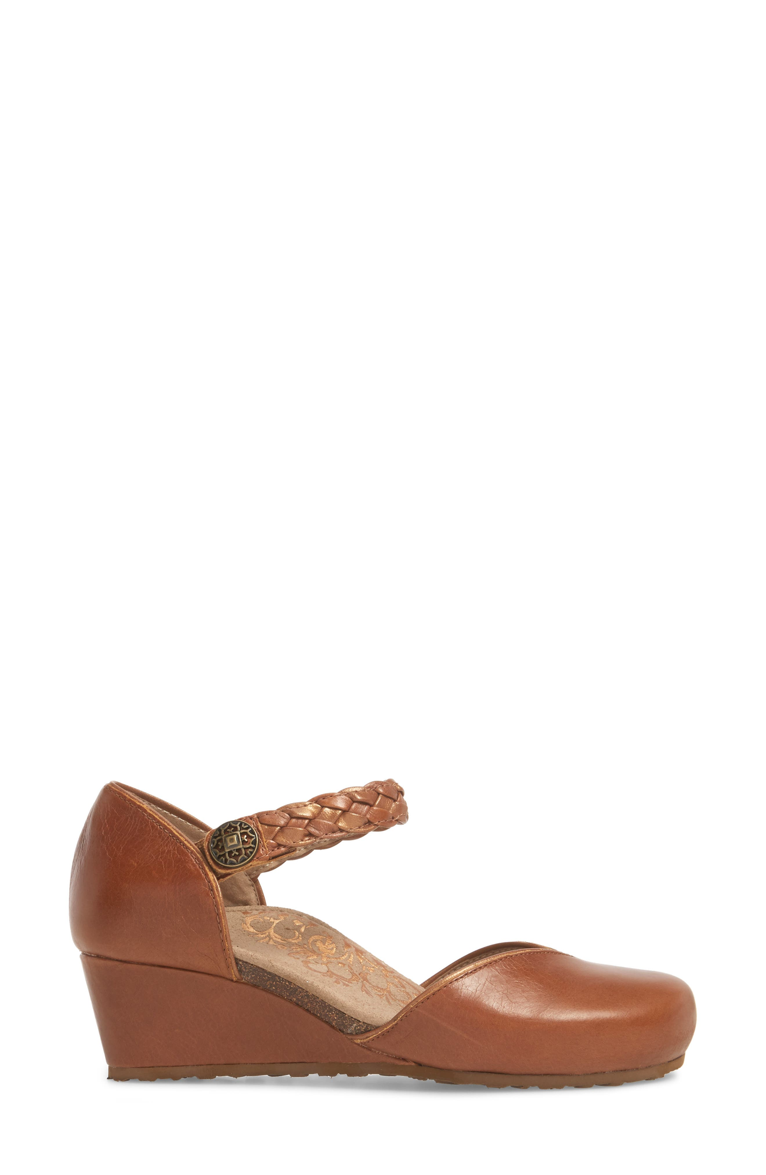 AETREX, 'Mia' Braid Strap Wedge, Alternate thumbnail 3, color, COGNAC LEATHER