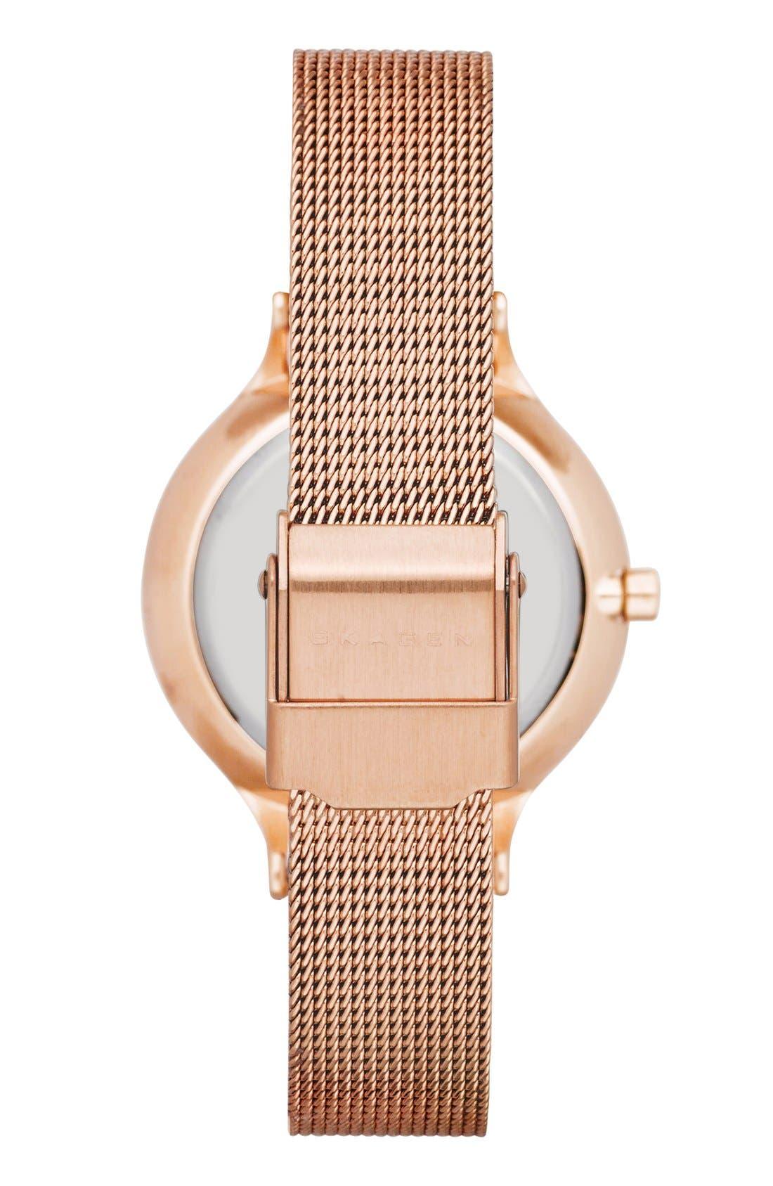 SKAGEN, 'Anita' Crystal Index Mesh Strap Watch, 30mm, Alternate thumbnail 2, color, ROSE GOLD