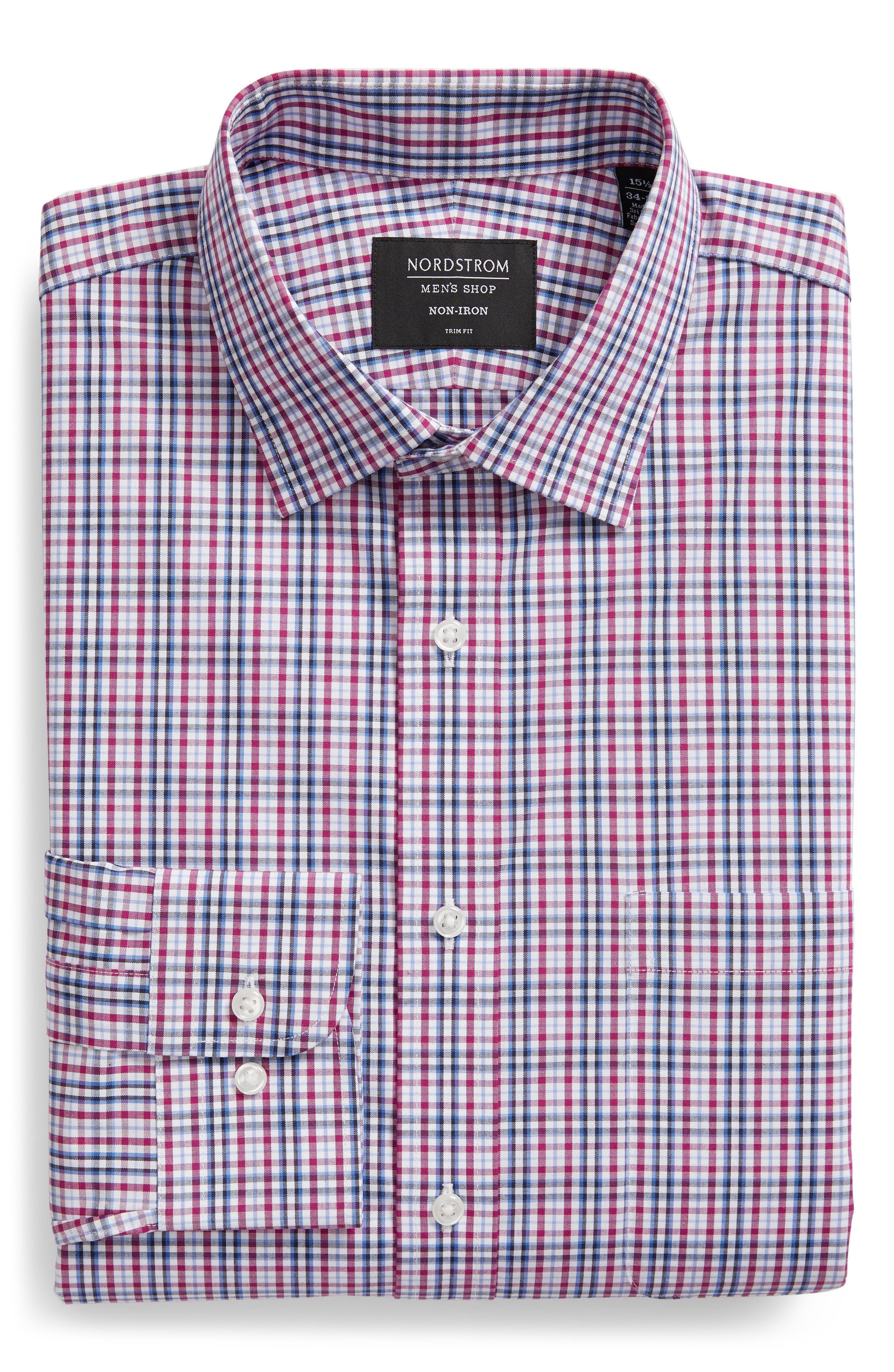 NORDSTROM MEN'S SHOP, Non-Iron Trim Fit Plaid Dress Shirt, Alternate thumbnail 5, color, PURPLE BOYSEN