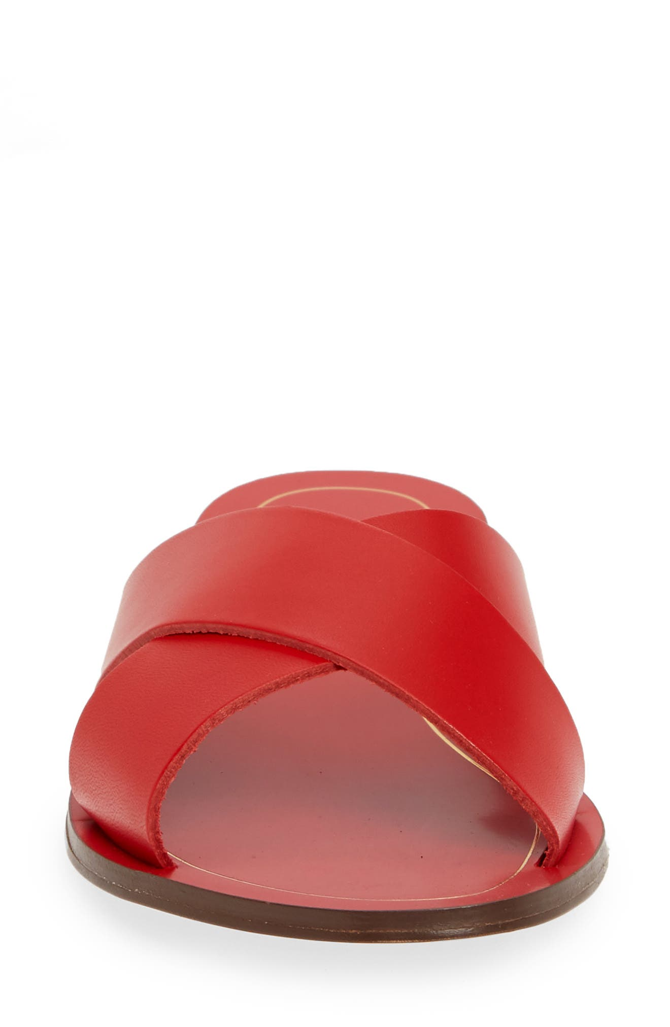 J.CREW, Cyprus Slide Sandal, Alternate thumbnail 4, color, BOLD RED LEATHER