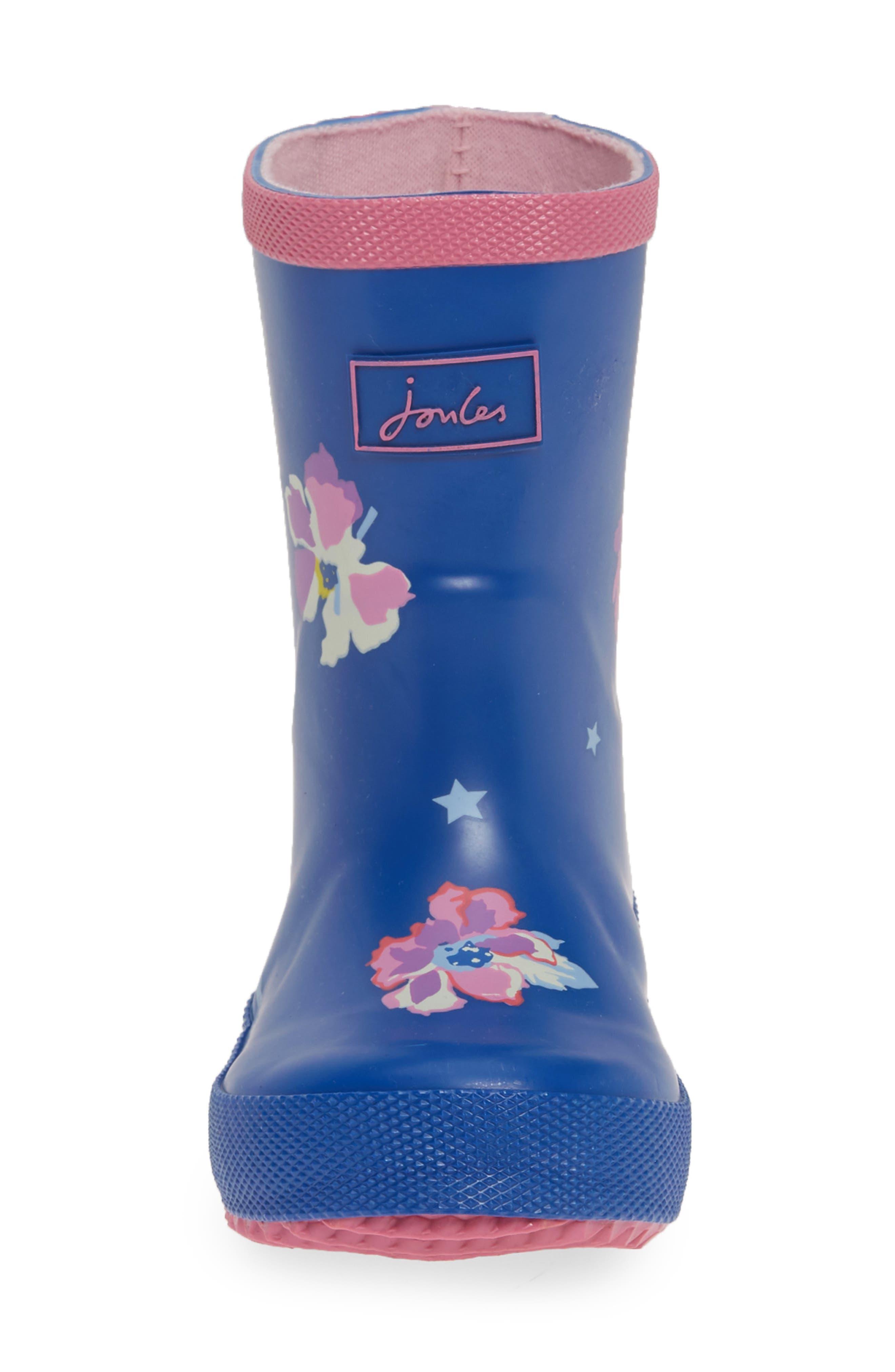 JOULES, Print Waterproof Rain Boot, Alternate thumbnail 4, color, BLUE CONFETTI FLORAL